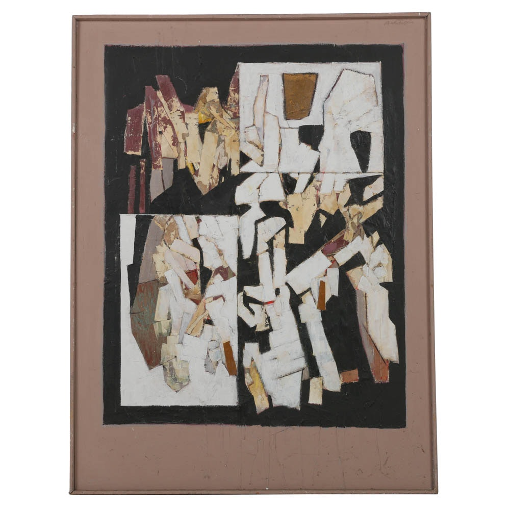 """Ronald Ahlstrom Abstract Mixed Media Collage """"Swiss Pile II"""""""