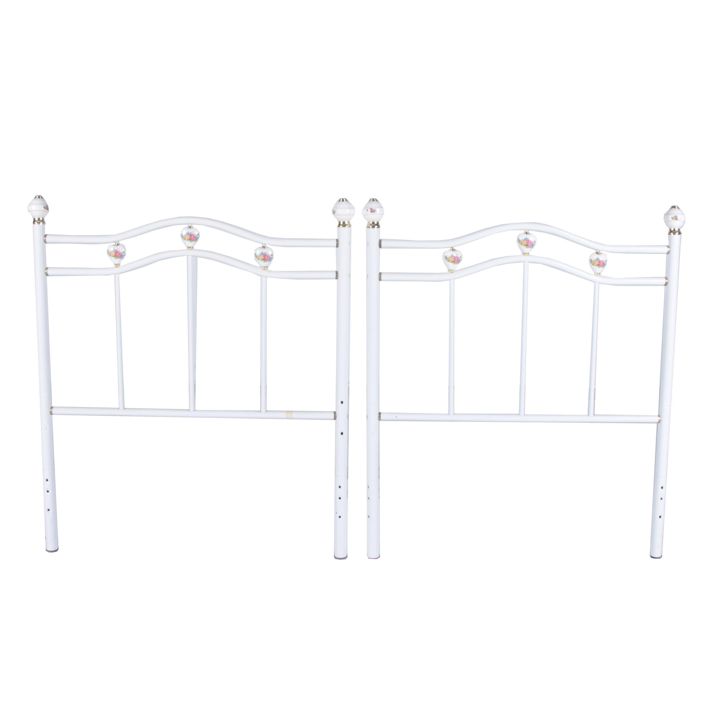 White-Painted Metal Twin Headboard and Footboard