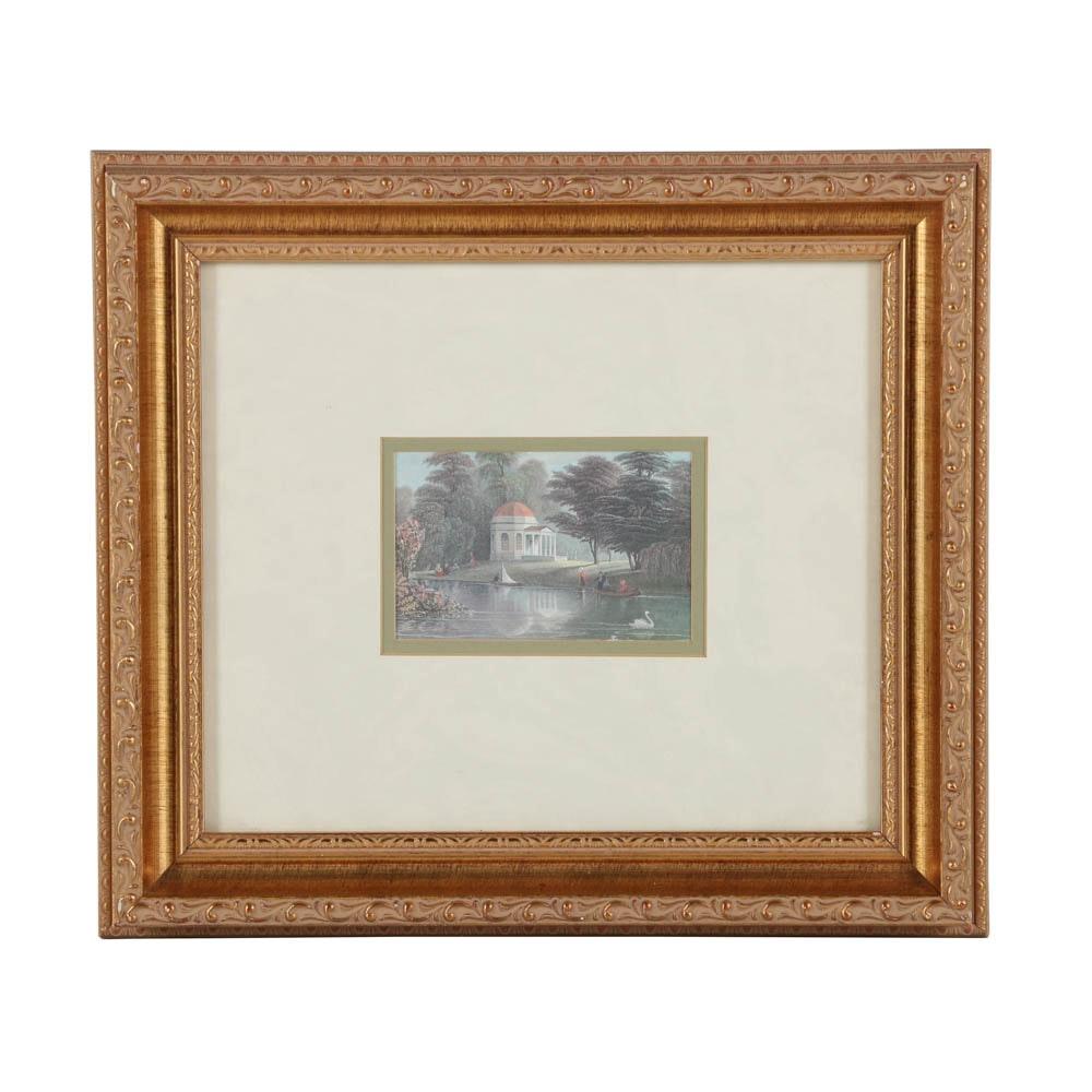 Offset Lithograph of Garrick's Villa at Hampton