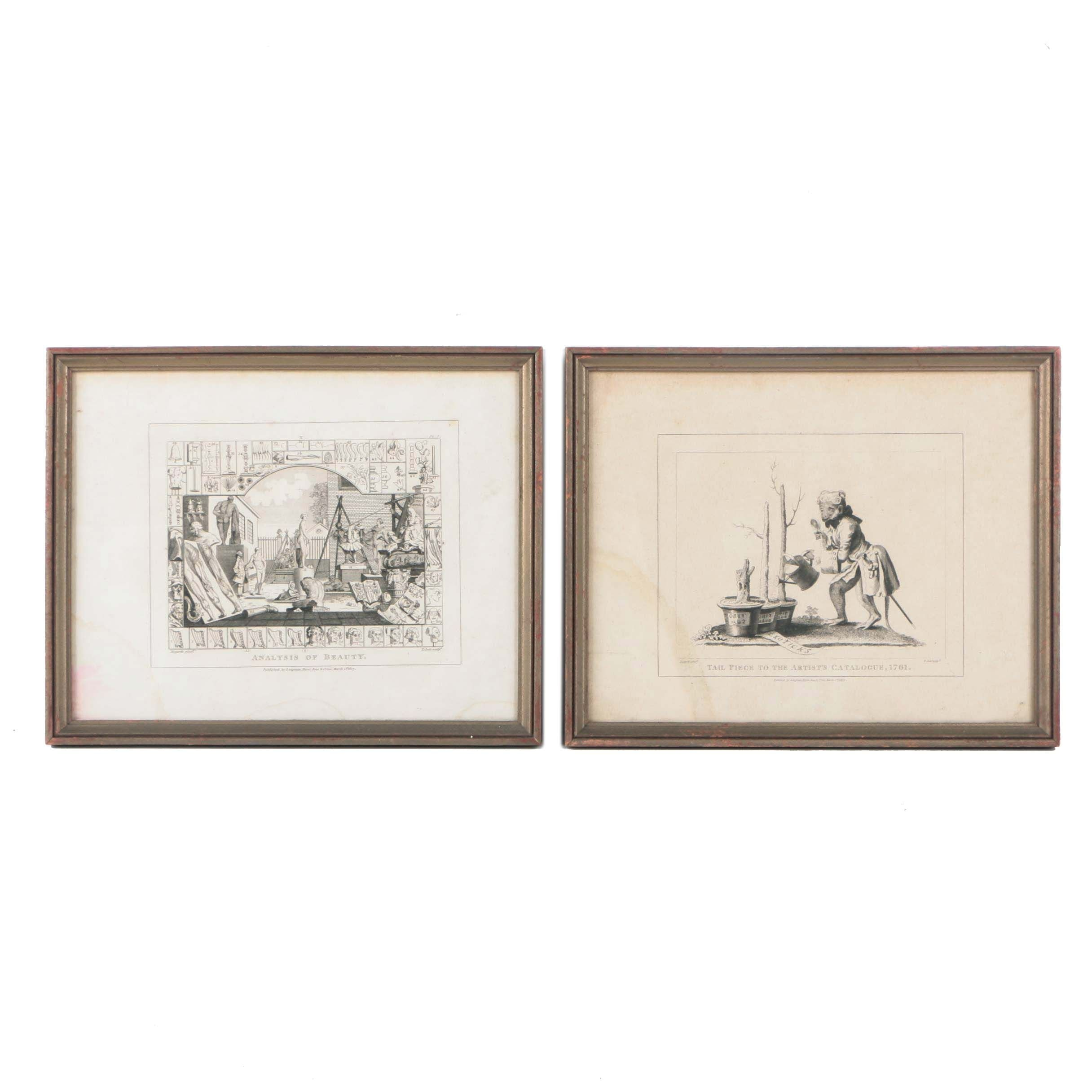 """Thomas Cook Engravings on Paper After William Hogarth """"Tail Piece to the Artist's Catalogue, 1761"""" and """"Analysis of Beauty"""""""