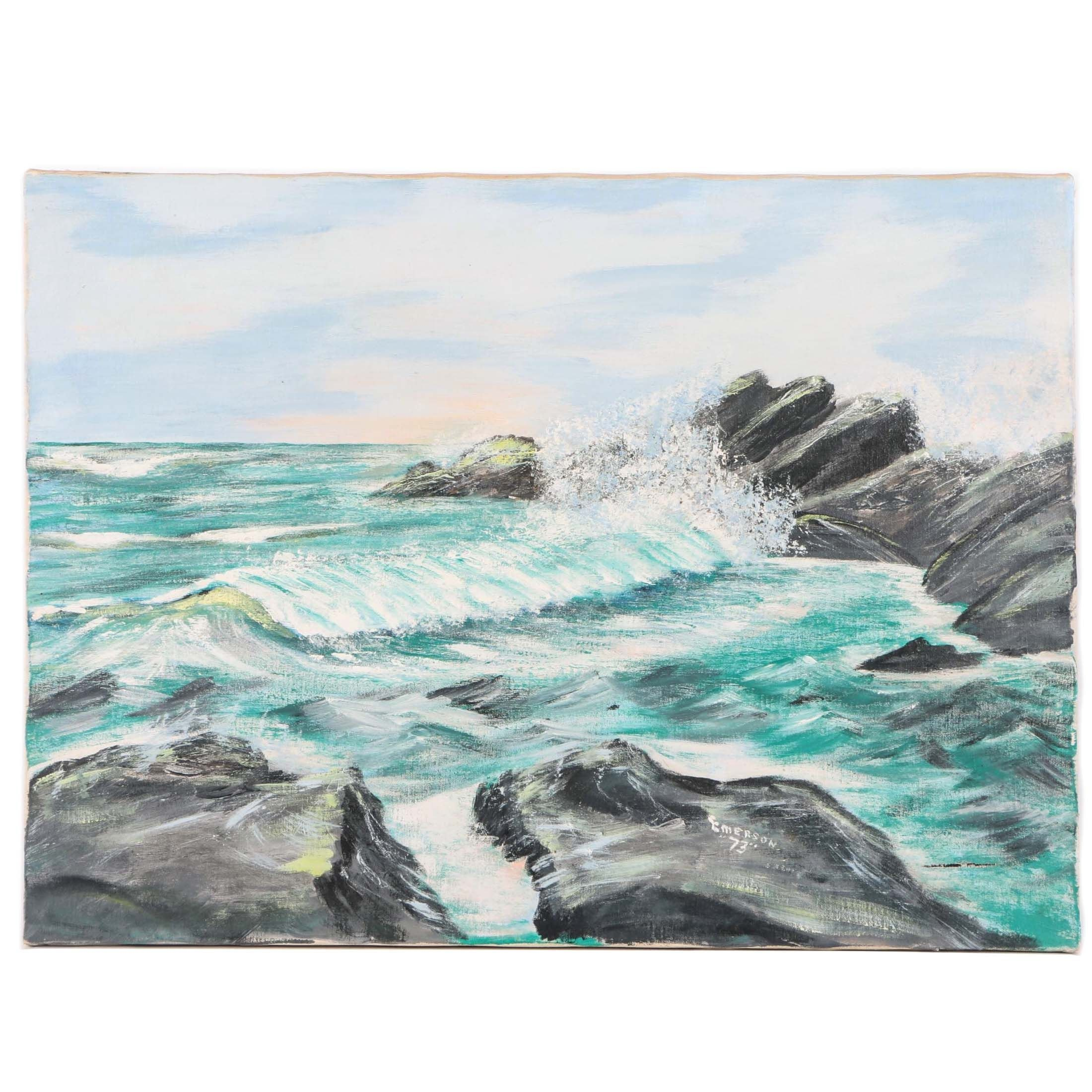 Emerson 1973 Oil Painting on Canvas of Waves Crashing Against a Rocky Shoreline