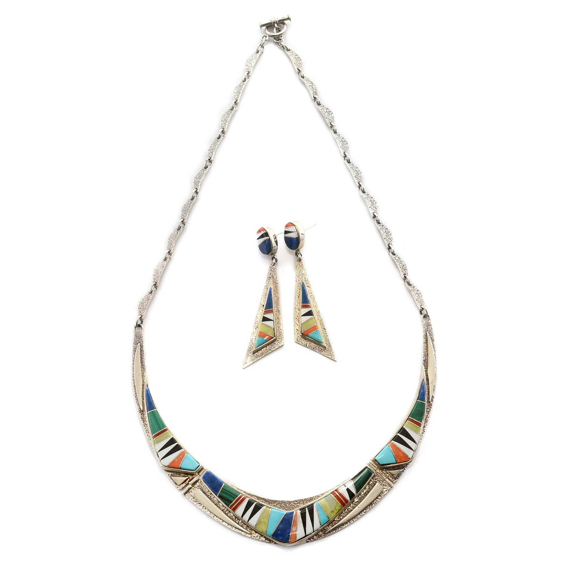 Calvin Begay Canyon Collection Sterling Silver Necklace and Married Earrings