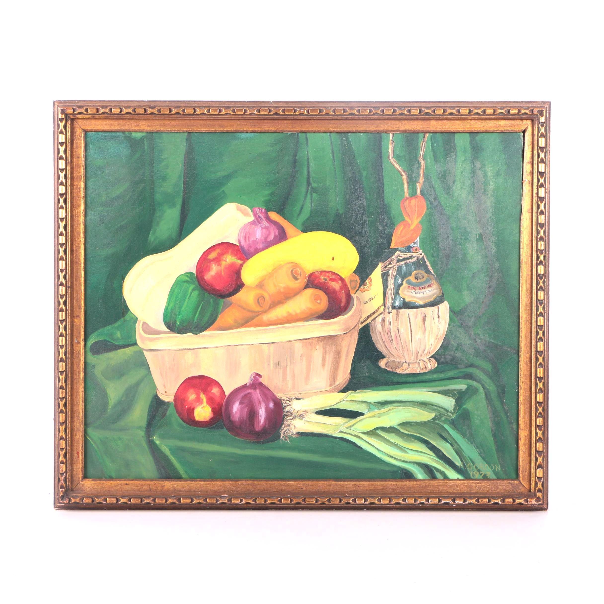 A. Gordon Acrylic Still Life Painting of Vegetables