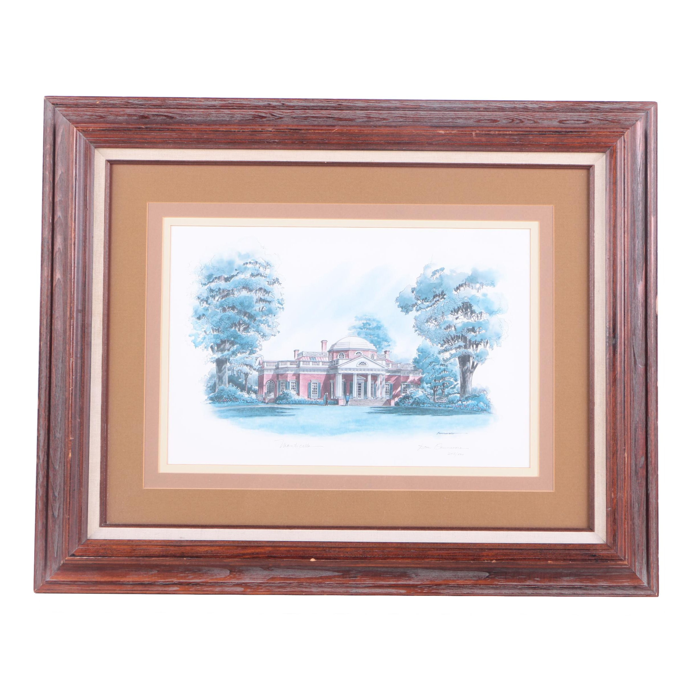 """Don Cannavaro Limited Edition Offset Lithograph """"Monticello"""""""