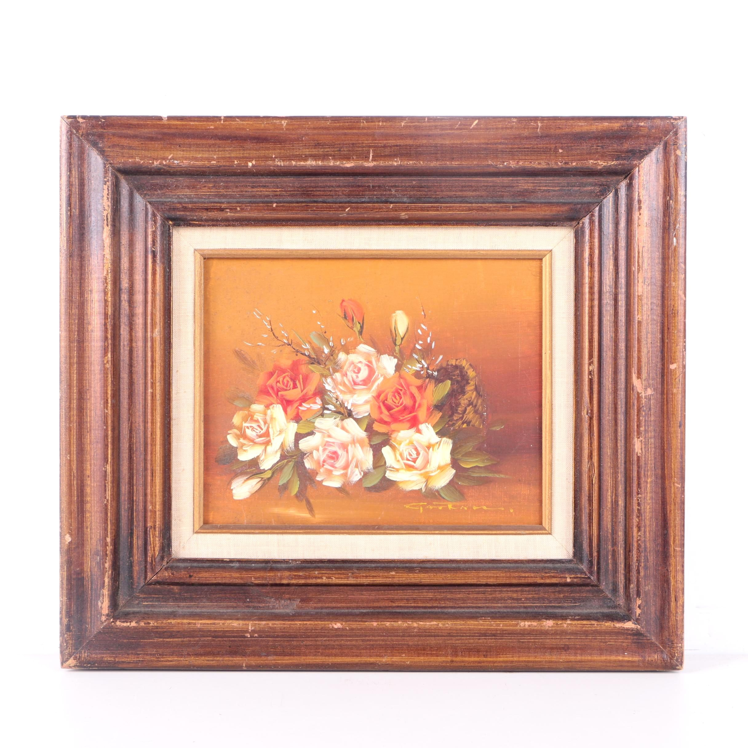 Oil Painting on Canvas of a Rose Still Life