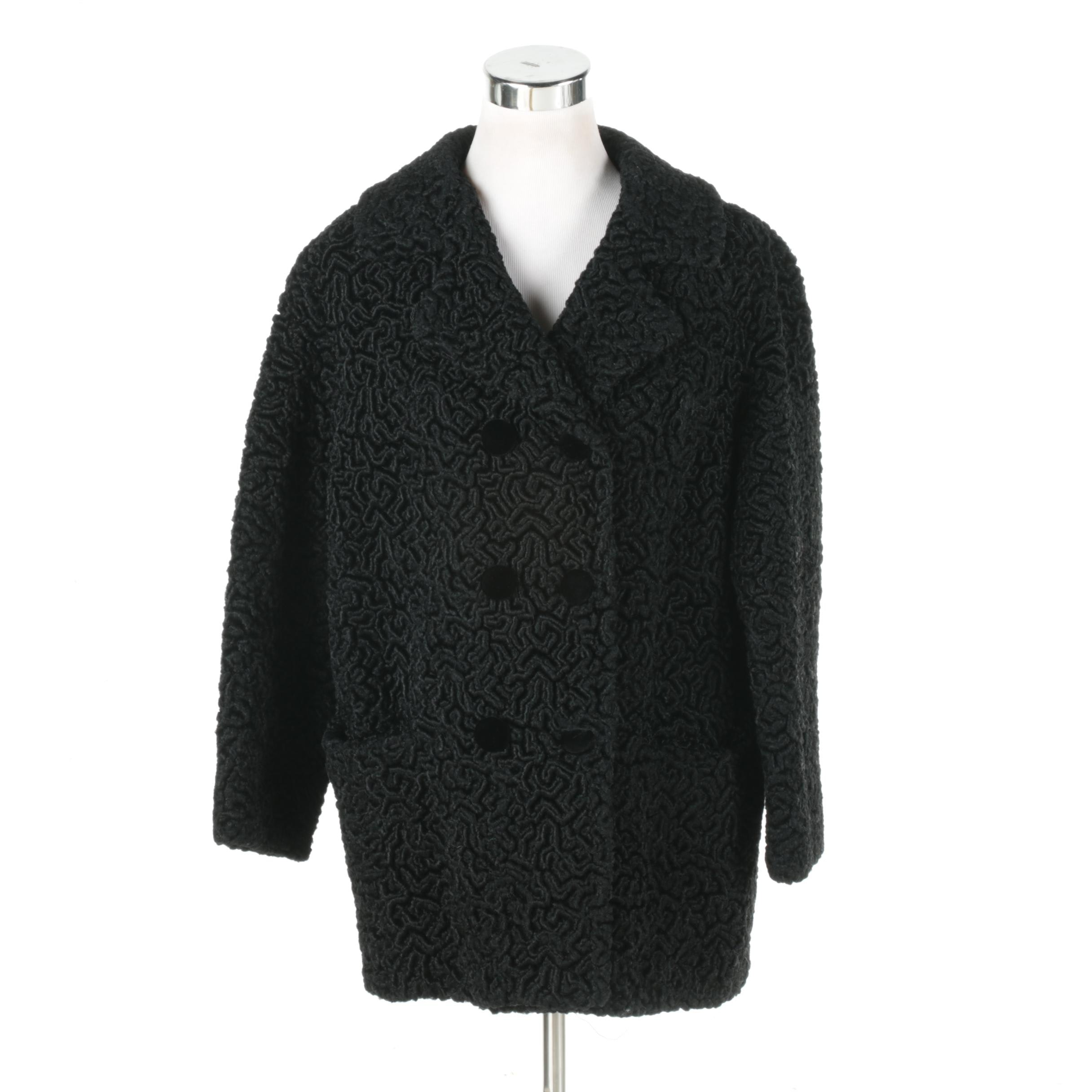 1960s Vintage Opducke's Faux Persian Lamb Fur Coat