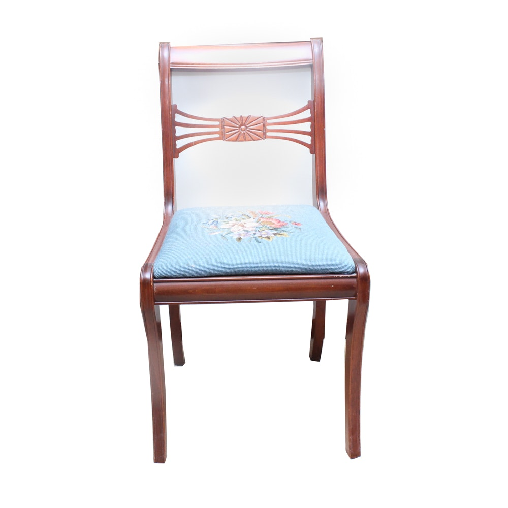 Vintage Needlepoint Solid Cherry Chair