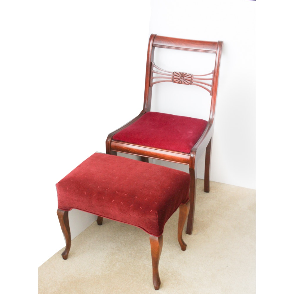 Vintage Cherry Wood Chair and Footstool
