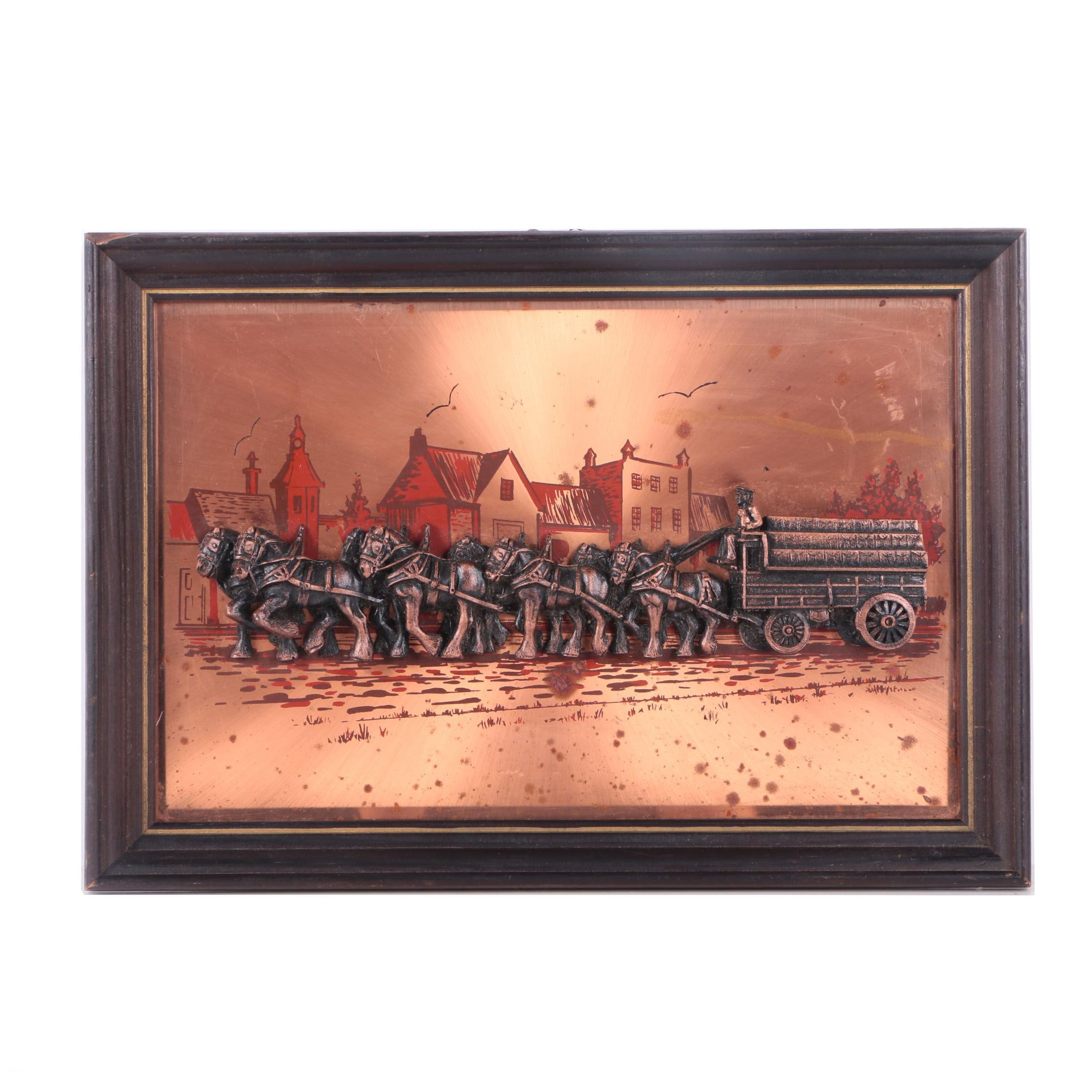Copper Bas-Relief of a Team of Draught Horses Pulling a Wagon