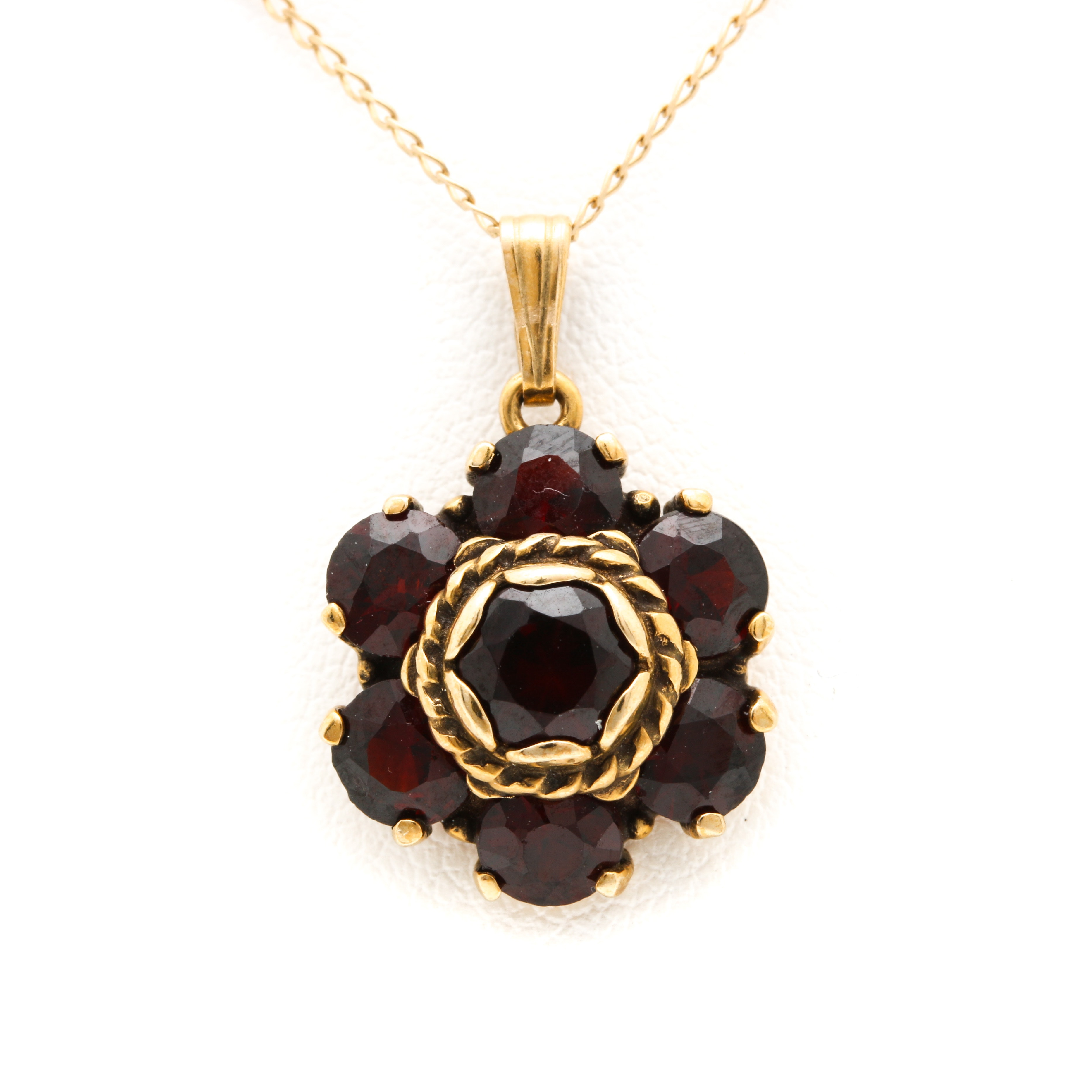 14K Yellow Gold Pyrope Garnet Necklace