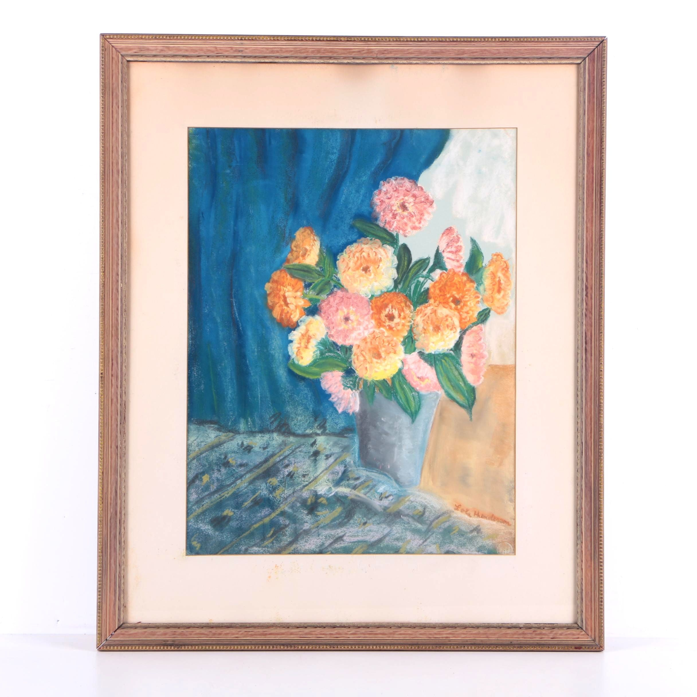 Lola Henderson Pastel Drawing on Paper Floral Still Life