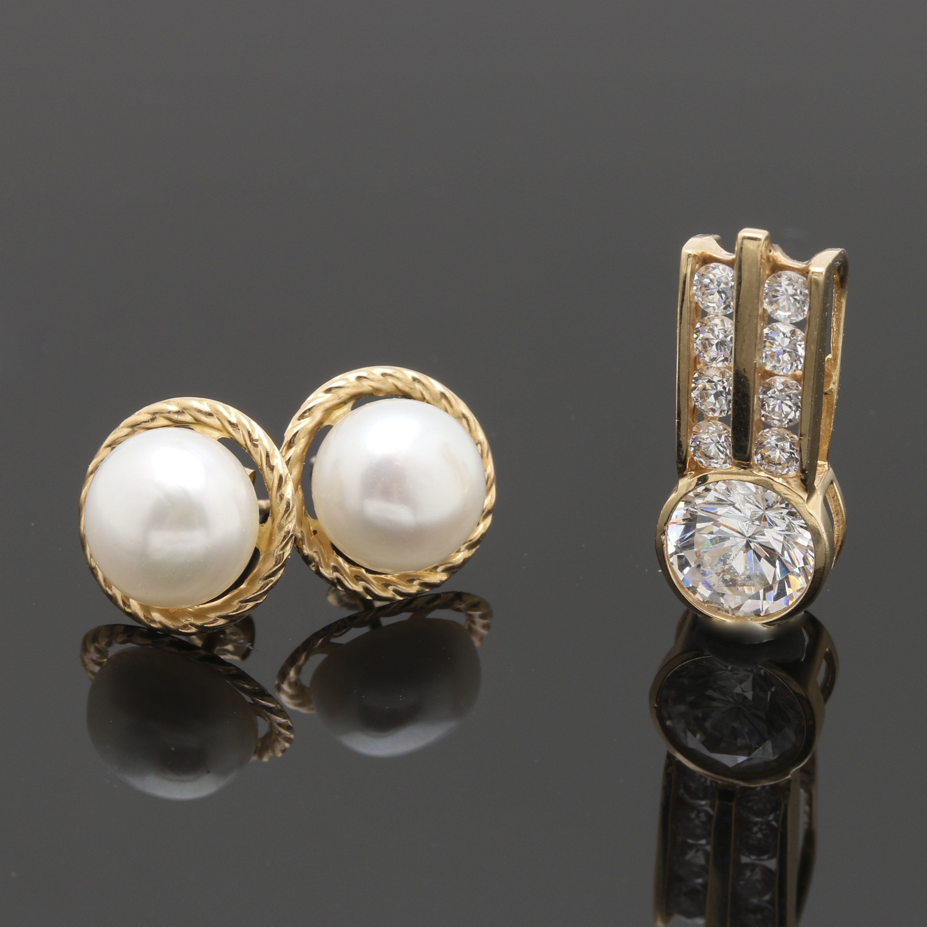 14K Yellow Gold Earrings and Pendant