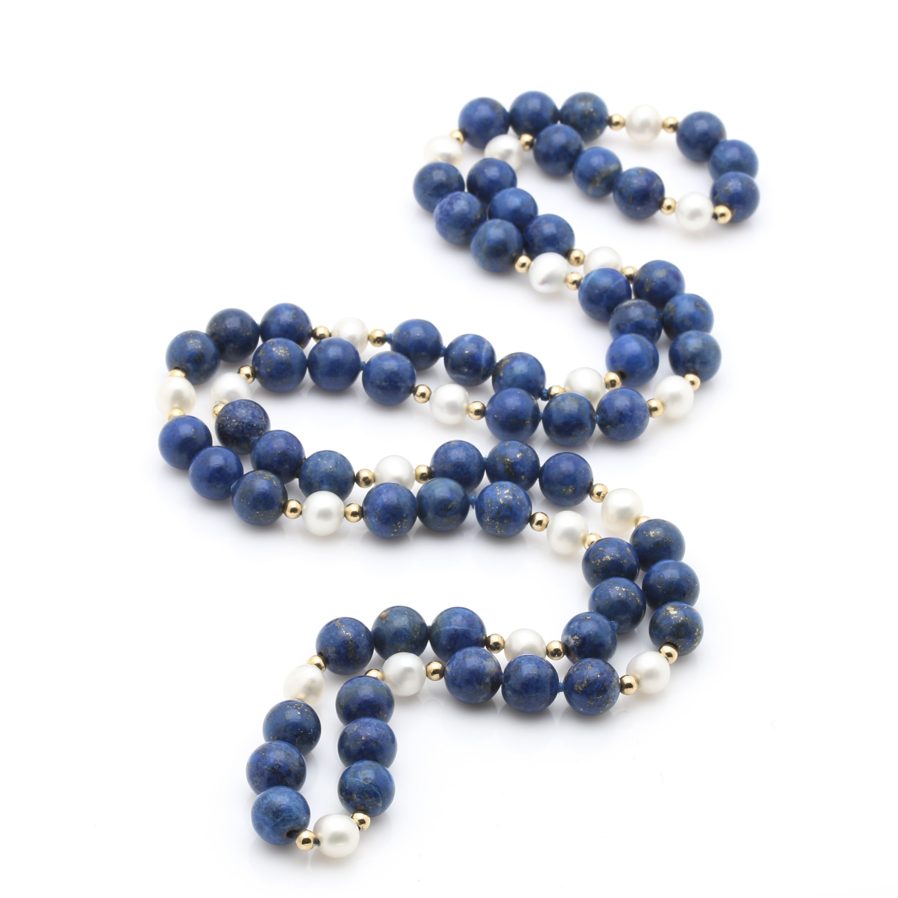 Lapis Lazuli and Freshwater Cultured Pearl Necklace with 14K Yellow Gold Beads