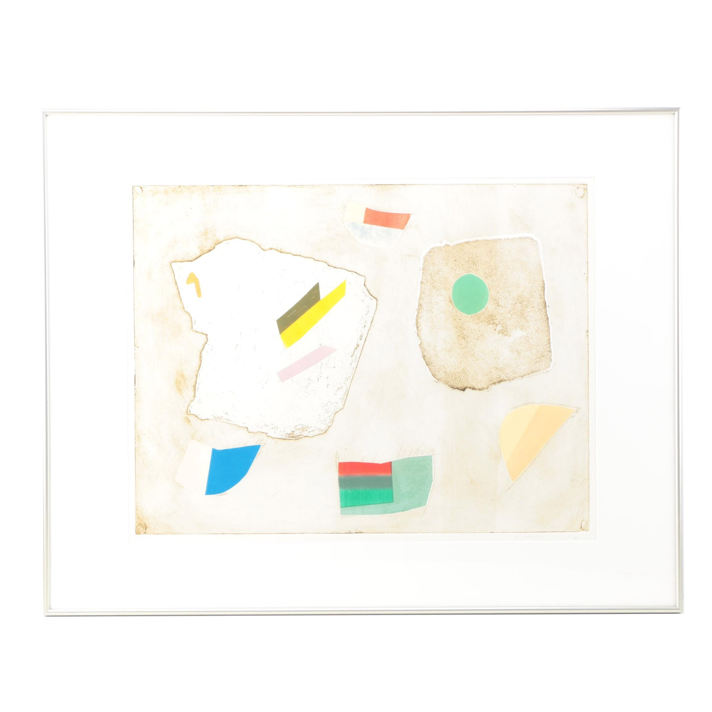 Signed Aquatint Etching with Collagraphy Elements on Paper