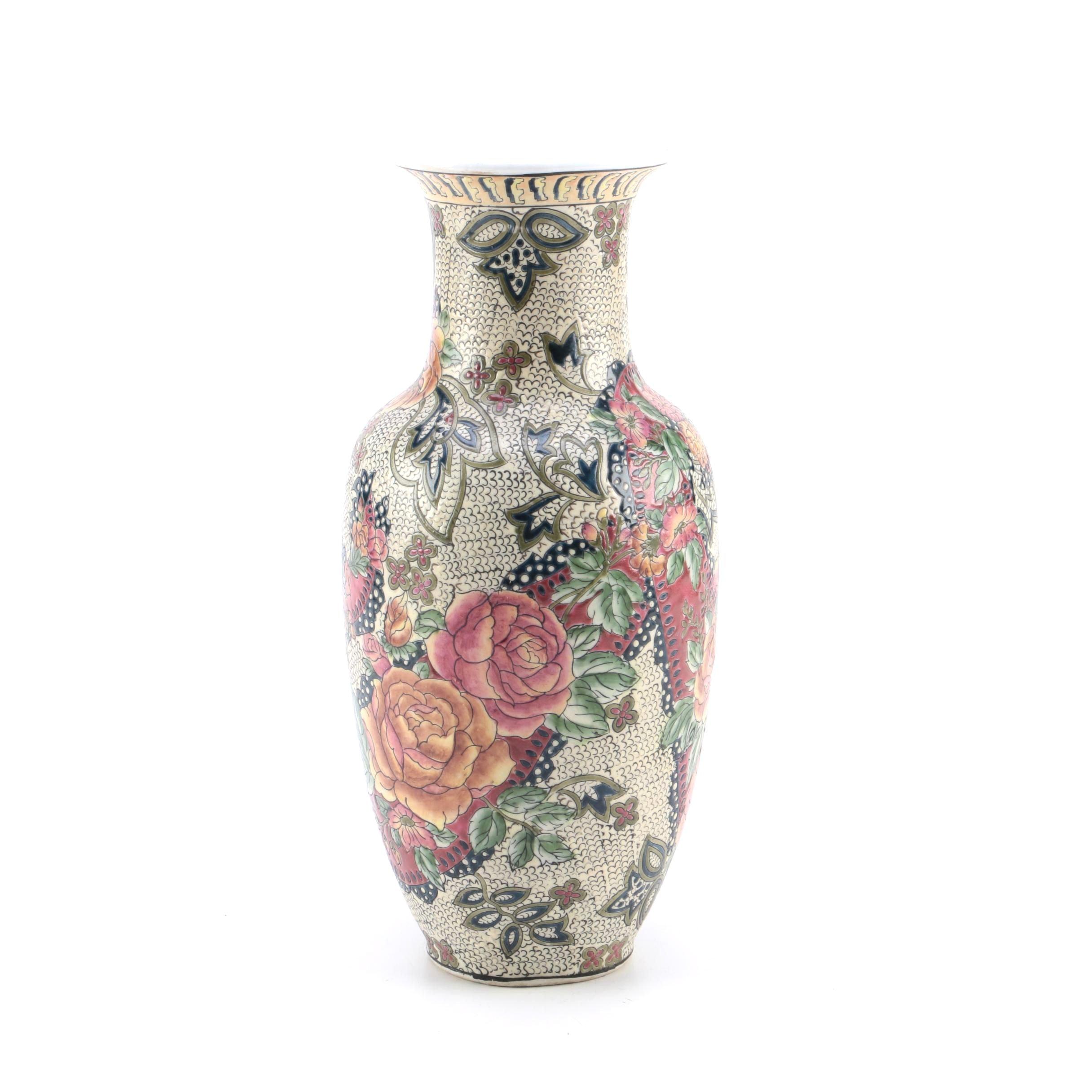 Porcelain Floral Motif Vase