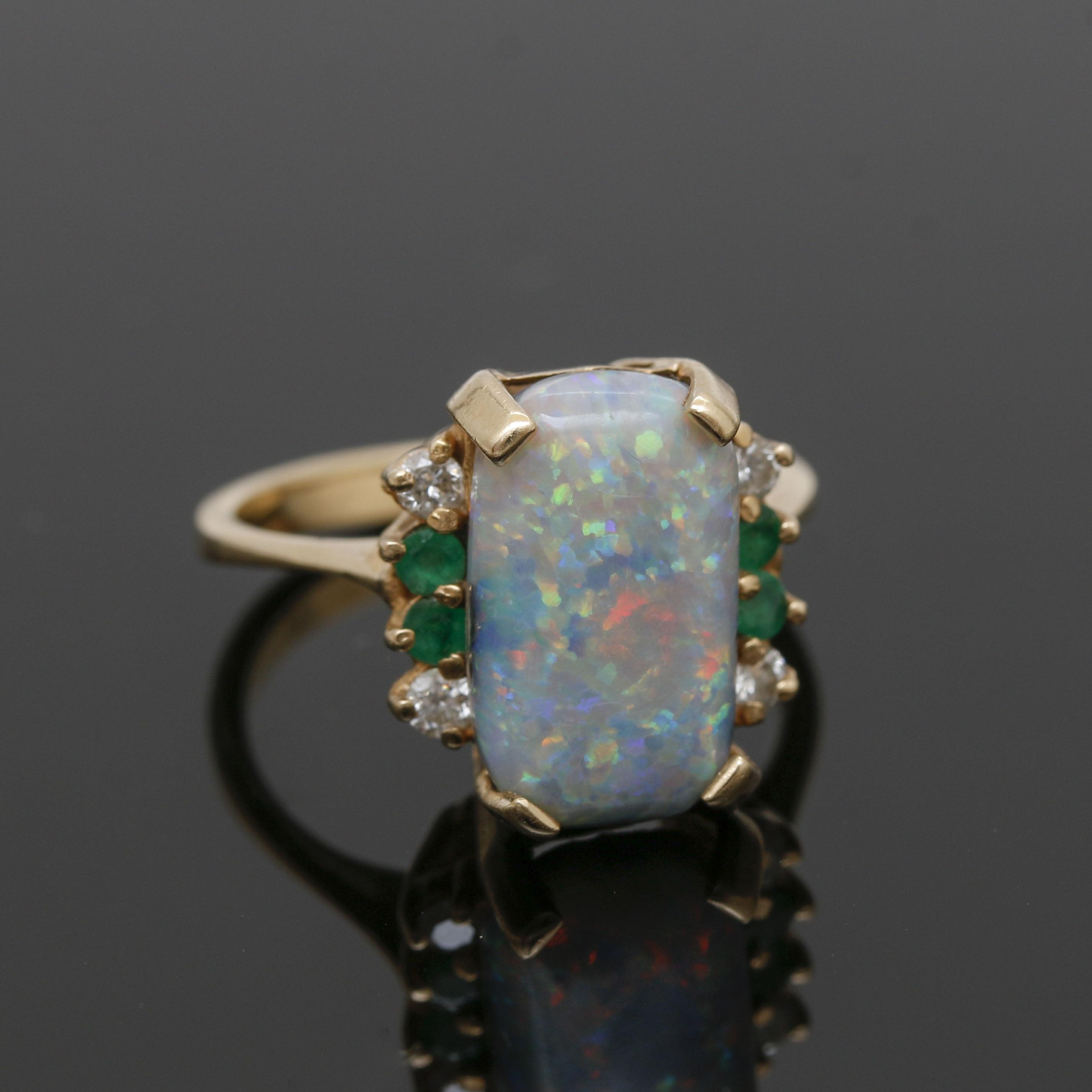 14K Yellow Gold Gemstone and Diamond Ring