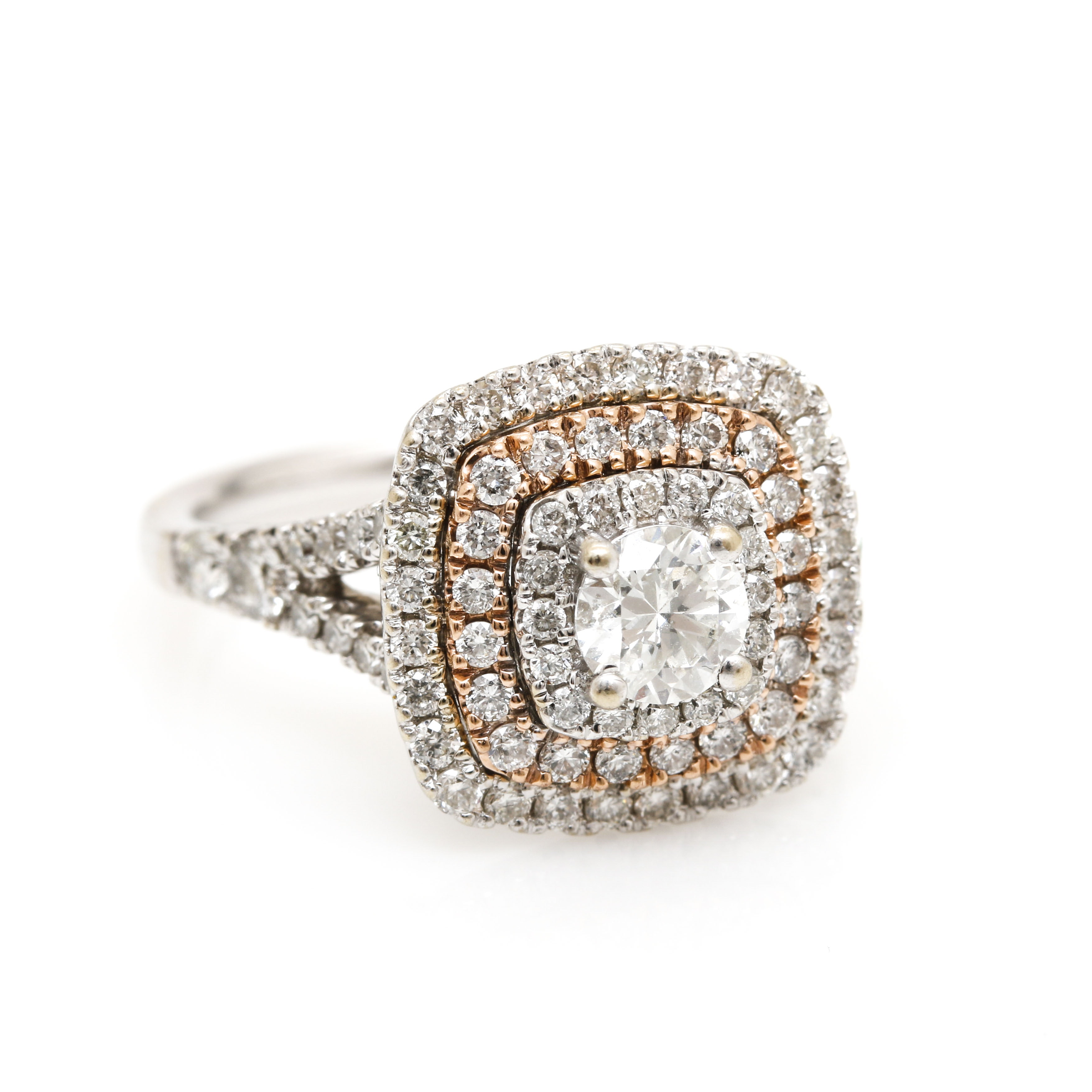 14K White Gold 1.48 CTW Diamond Ring with Rose Gold Accents