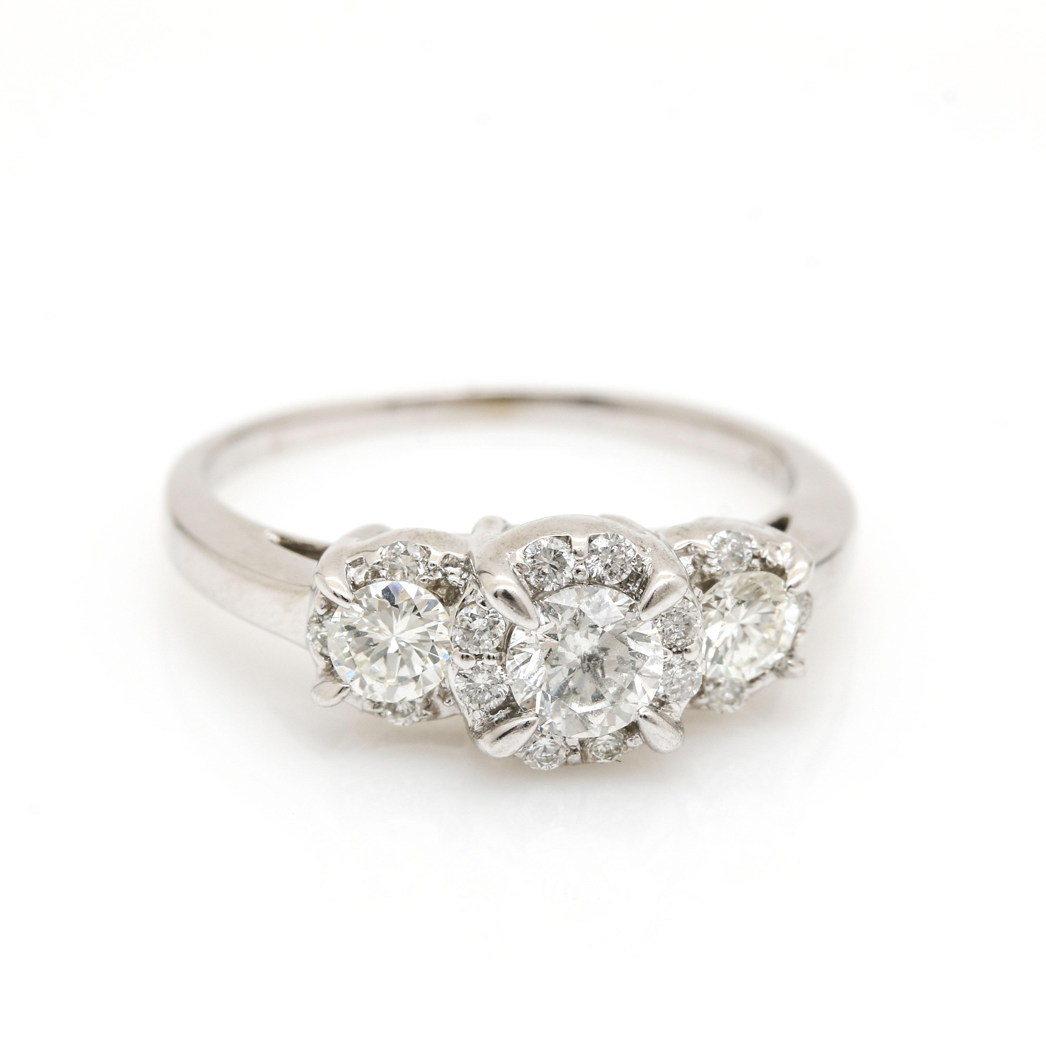 14K White Gold 0.88 CTW Diamond Ring
