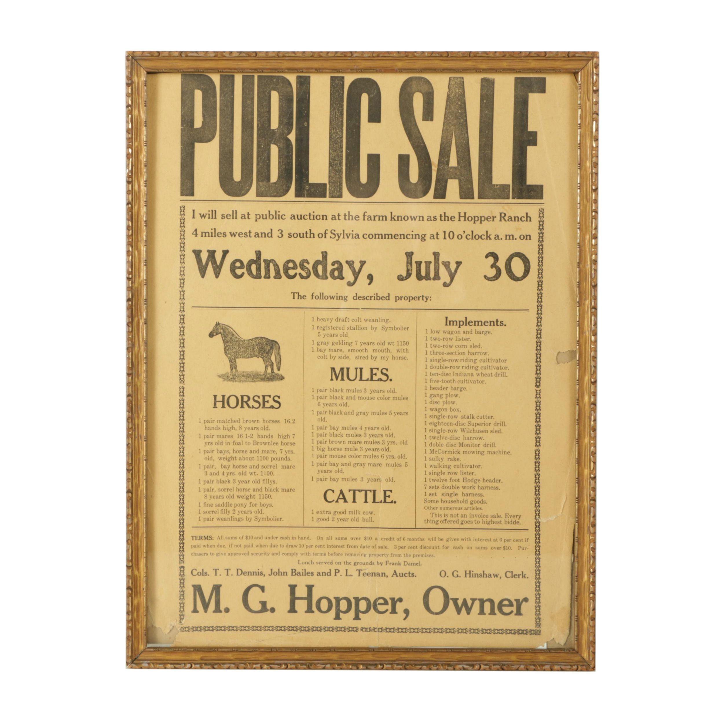 "Wood Engraving Advertisement on Paper ""Public Sale"""