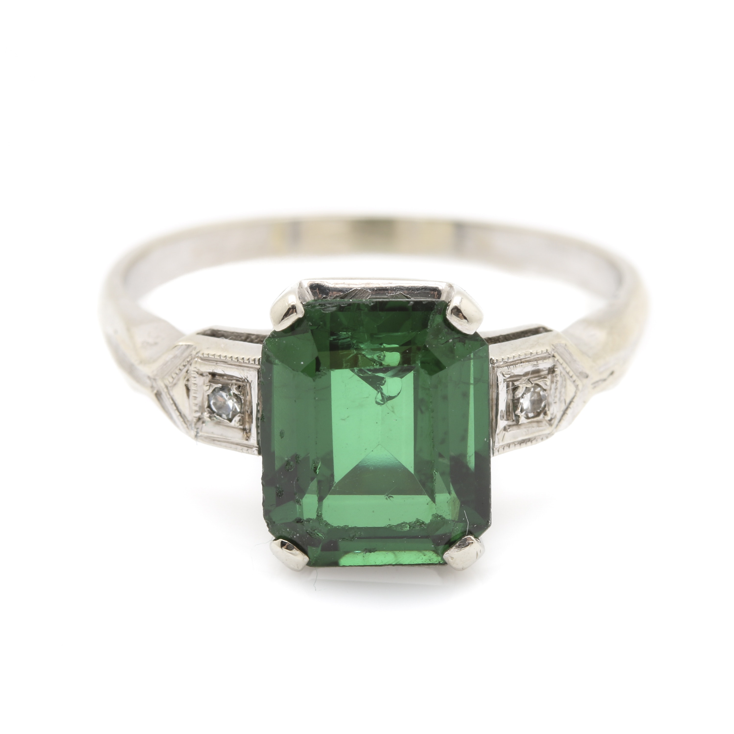 14K White Gold Green Spinel and Diamond Ring