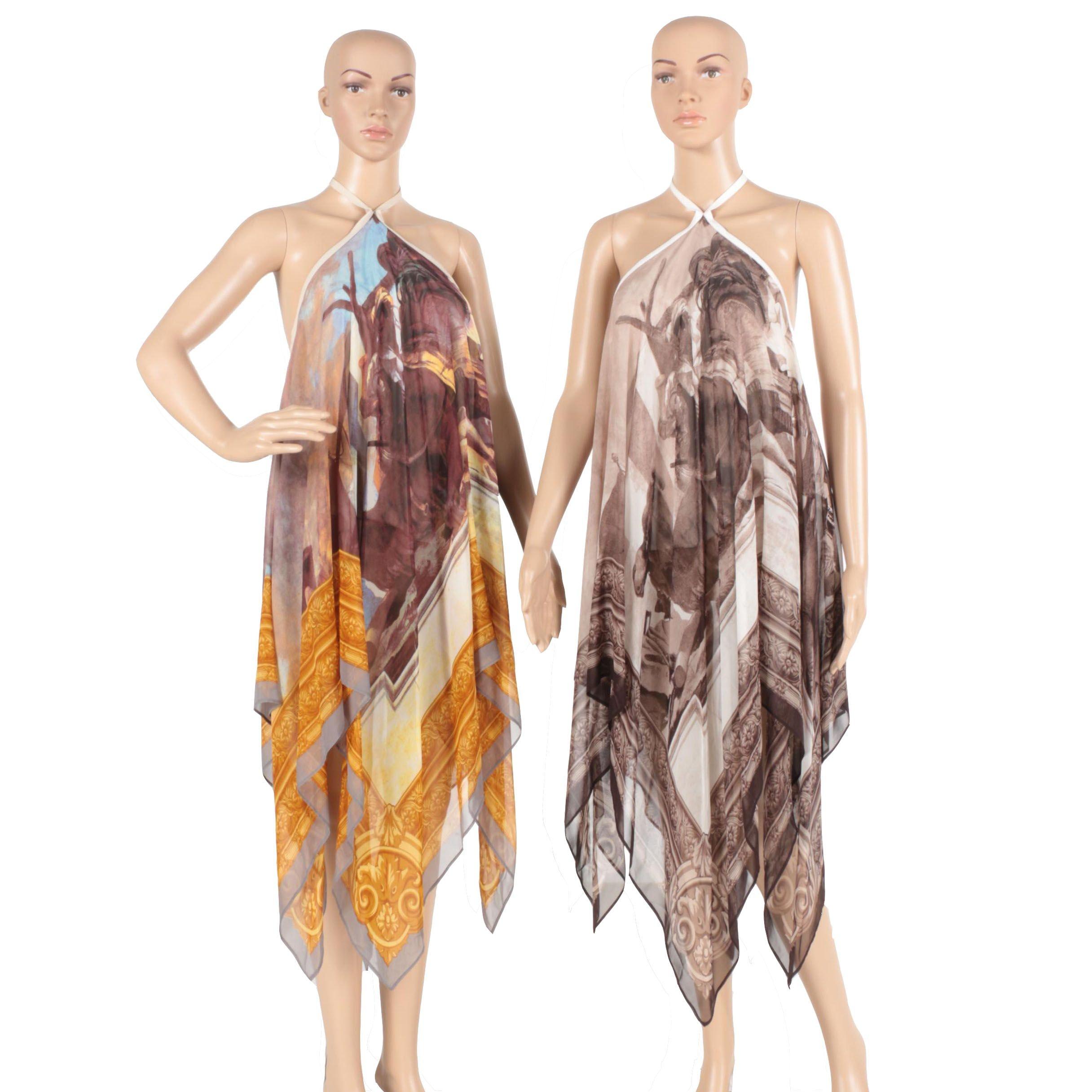 Two Jean-Louis Scherrer Silk Handkerchief Style Dresses