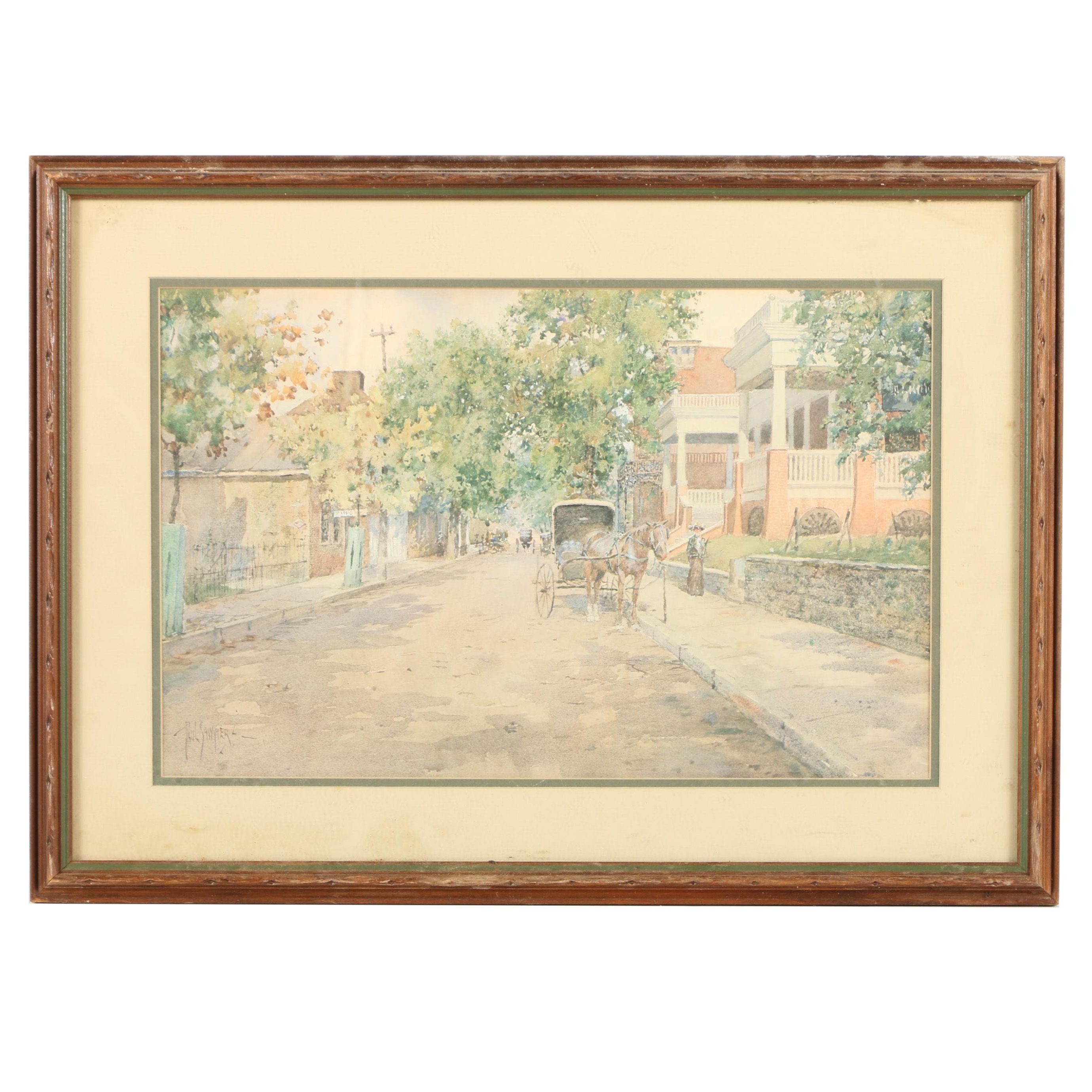 Offset Lithograph Print on Paper After Paul Sawyier Historic Street Scene