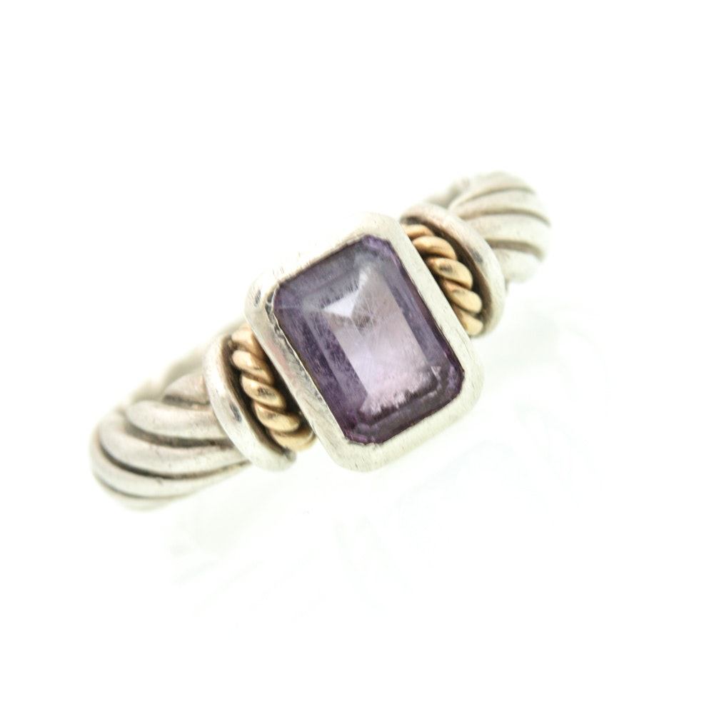Sterling Silver 14K Yellow Gold Accented Amethyst Ring