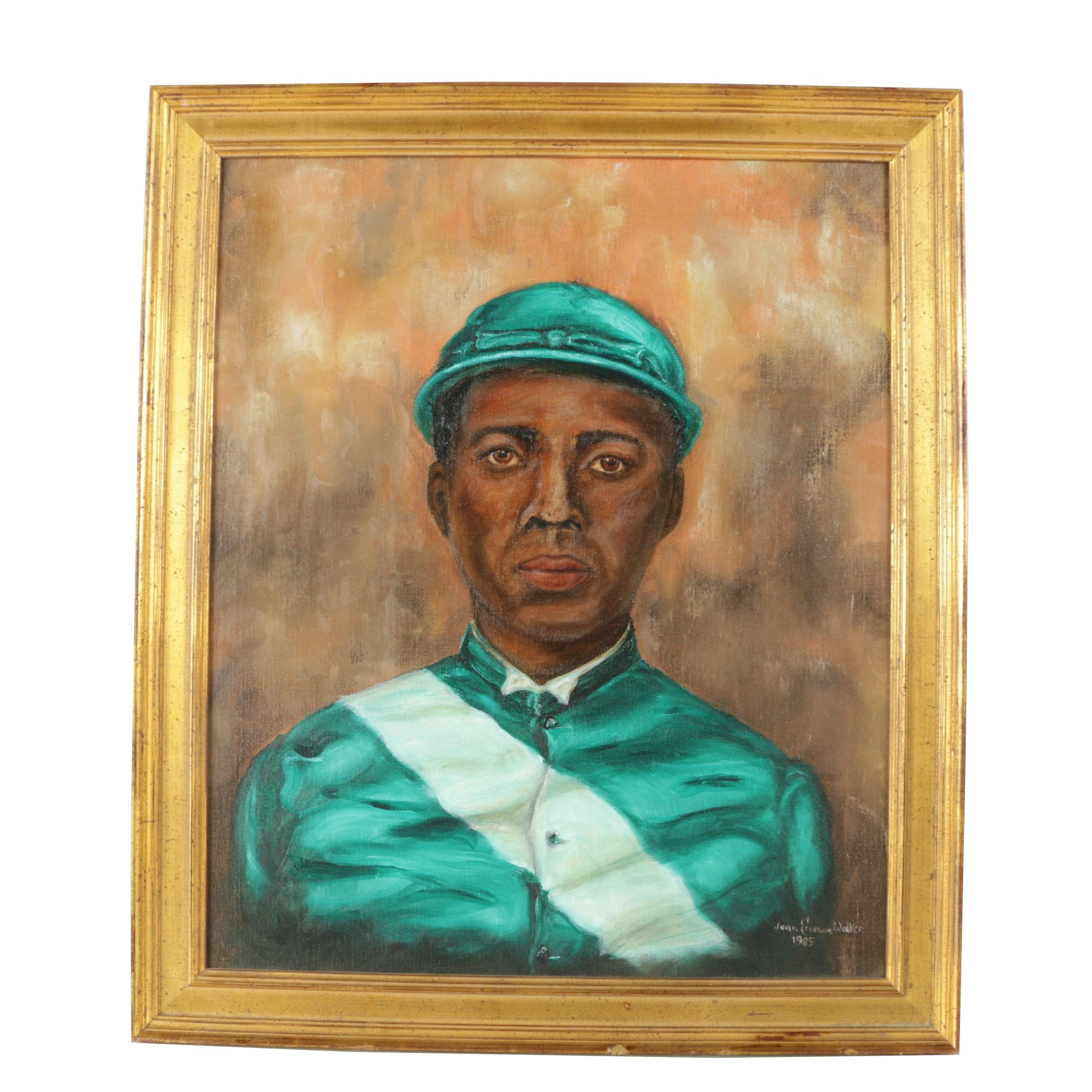 Jean Eseman Walker Oil Painting on Canvas of a Jockey