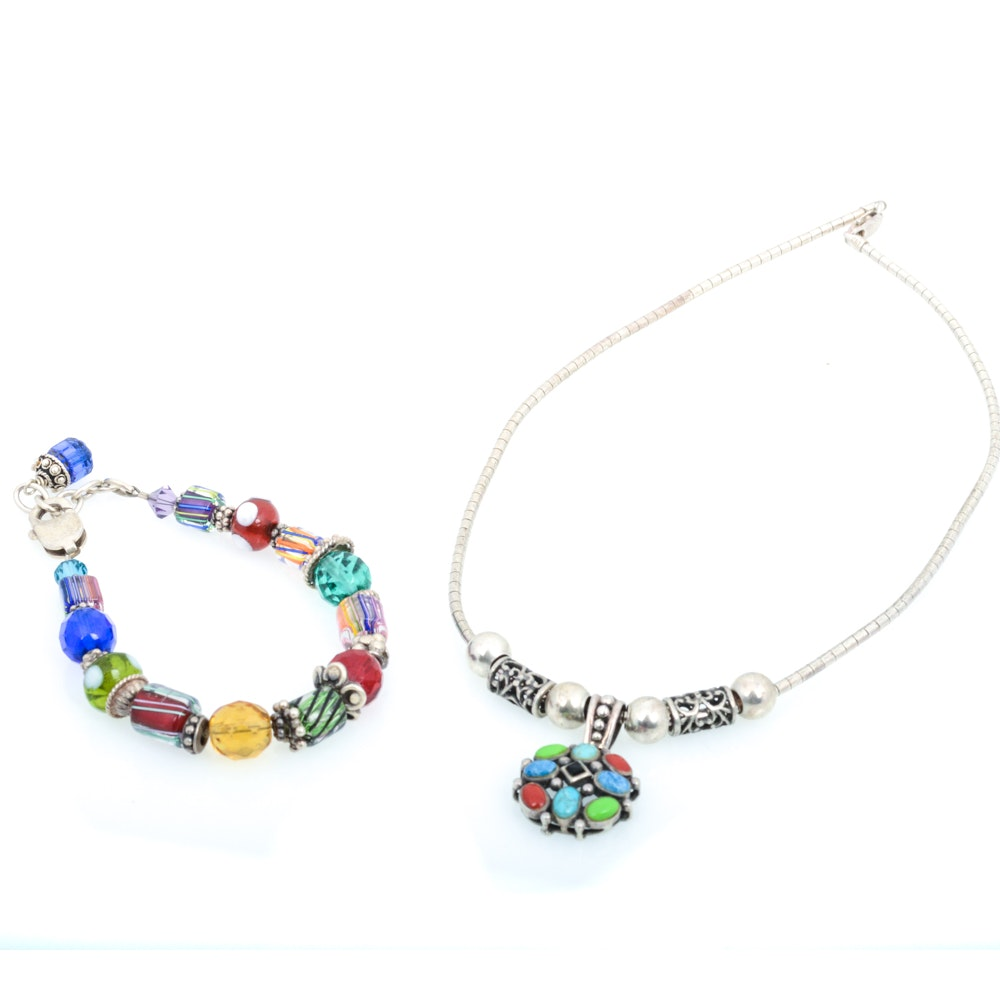 Sterling Silver Glass and Gemstone Beaded Jewelry