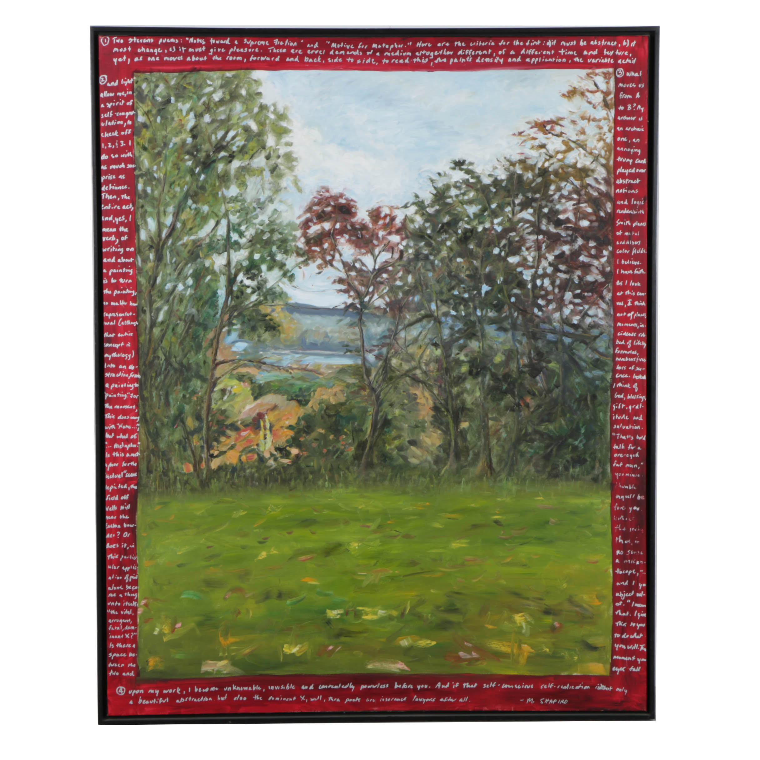 M. Shapiro Oil Painting on Canvas Landscape