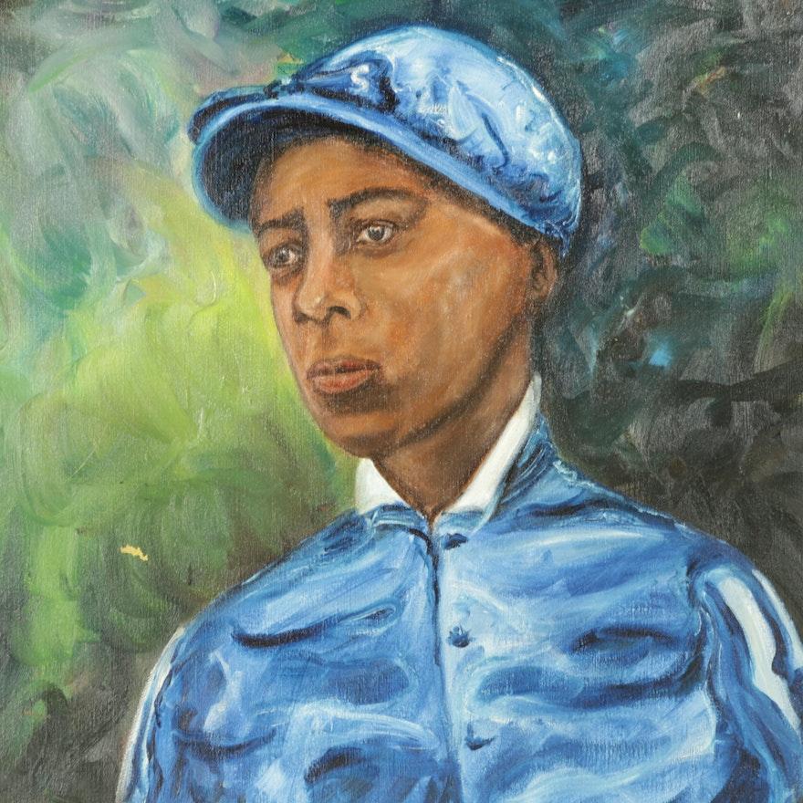 Clayton Auto Sales >> Jean Walker Oil Painting on Canvas of Jockey Alonzo ...