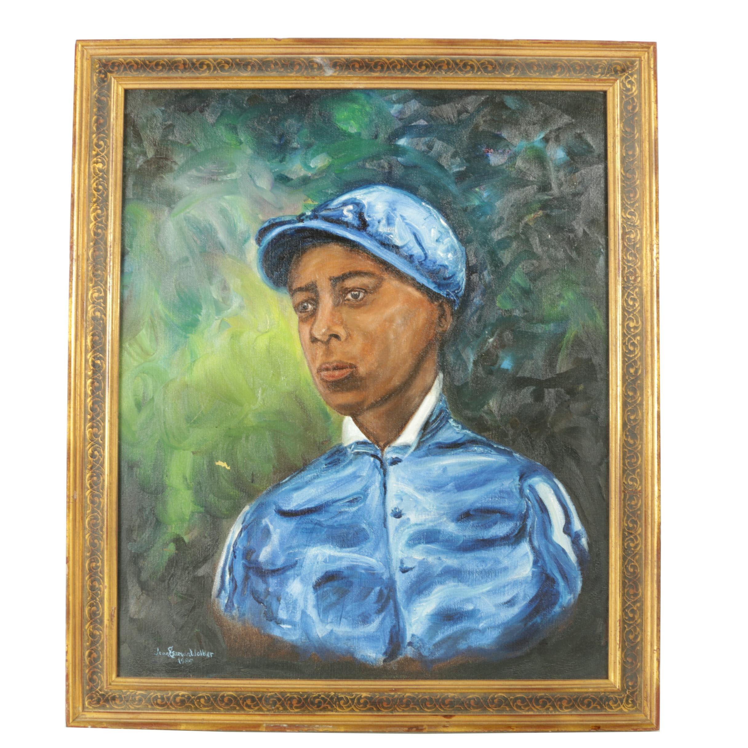 "Jean Walker Oil Painting on Canvas of Jockey Alonzo ""Lonnie"" Clayton"