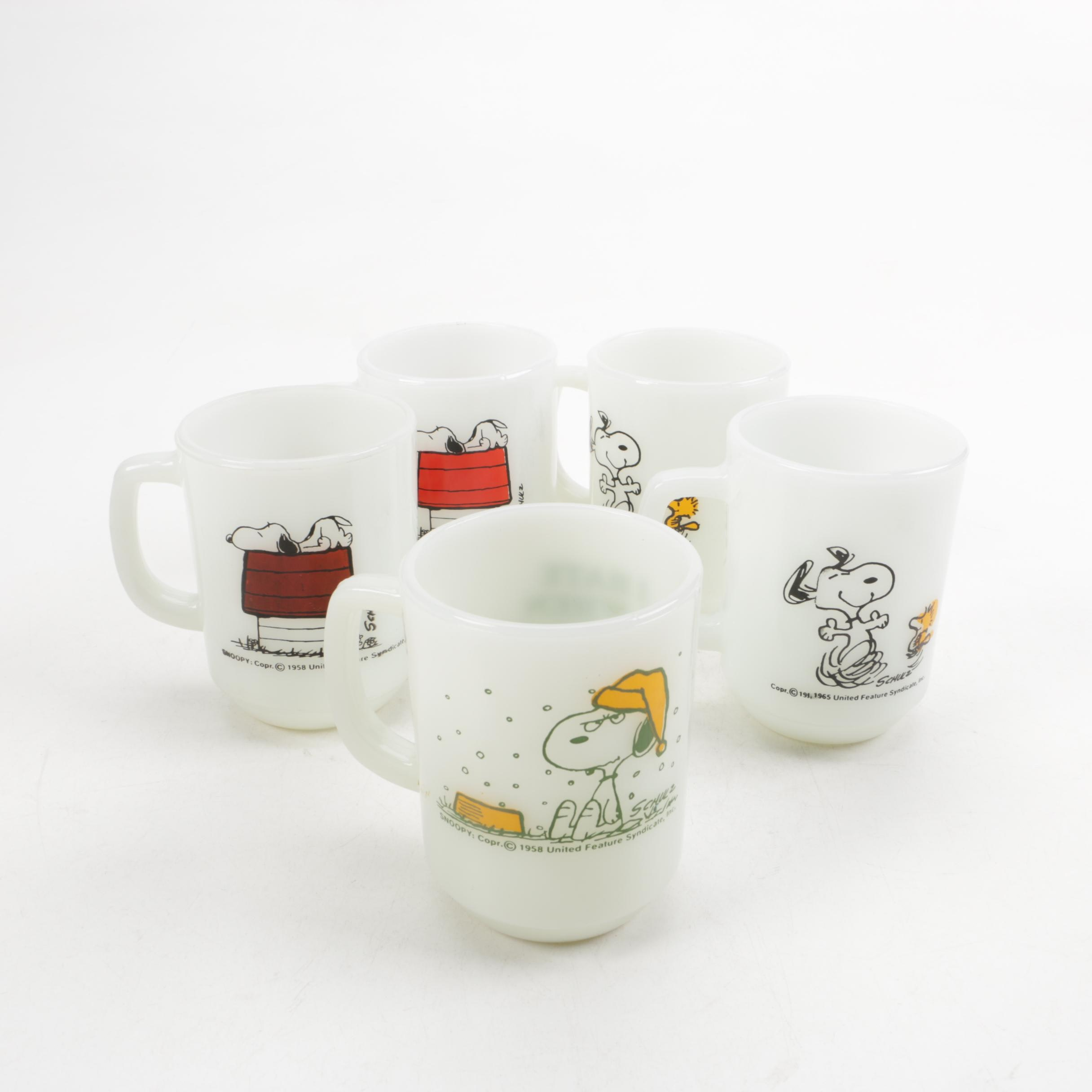 Fire-King Snoopy Themed Milk Glass Mugs