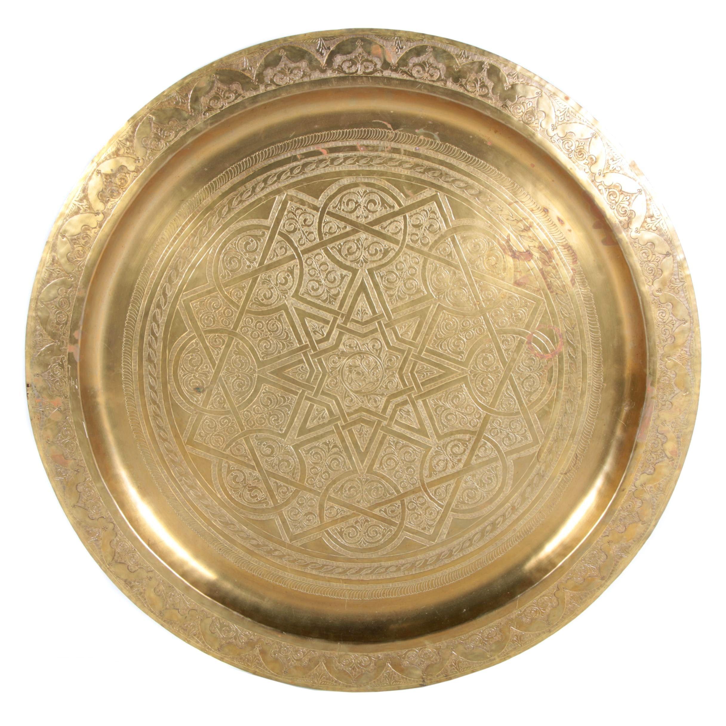 Vintage Moroccan Brass Tea Tray