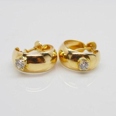 14K Yellow Gold Diamond Hoop Screwback Earrings