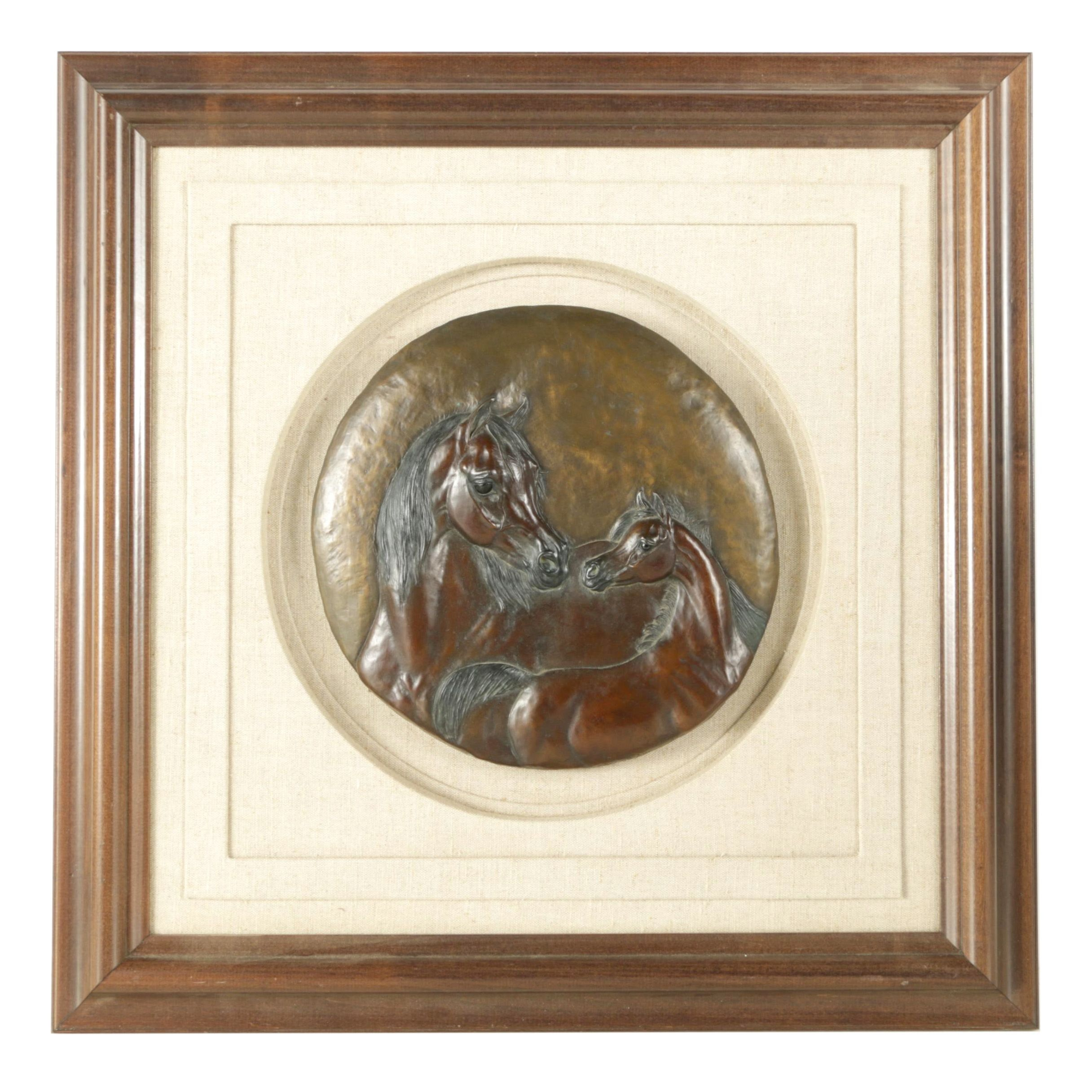 """Shary B. Akers Limited Edition Bronze Relief Sculpture """"Gentle Spirit"""""""