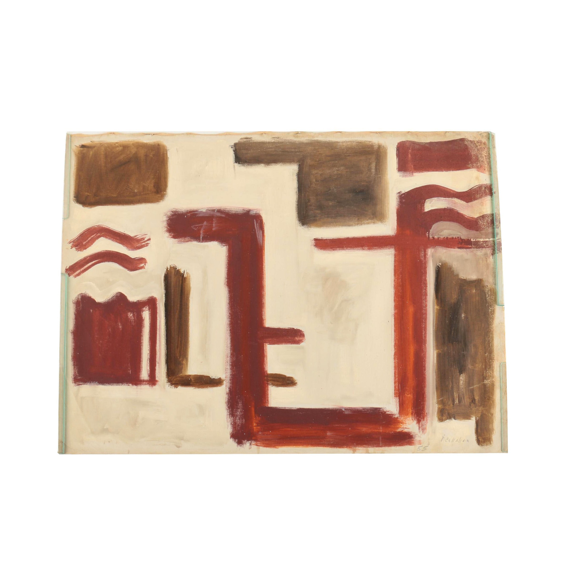 Phillip Callahan Oil Painting on Canvas of Abstract Red and Brown Shapes