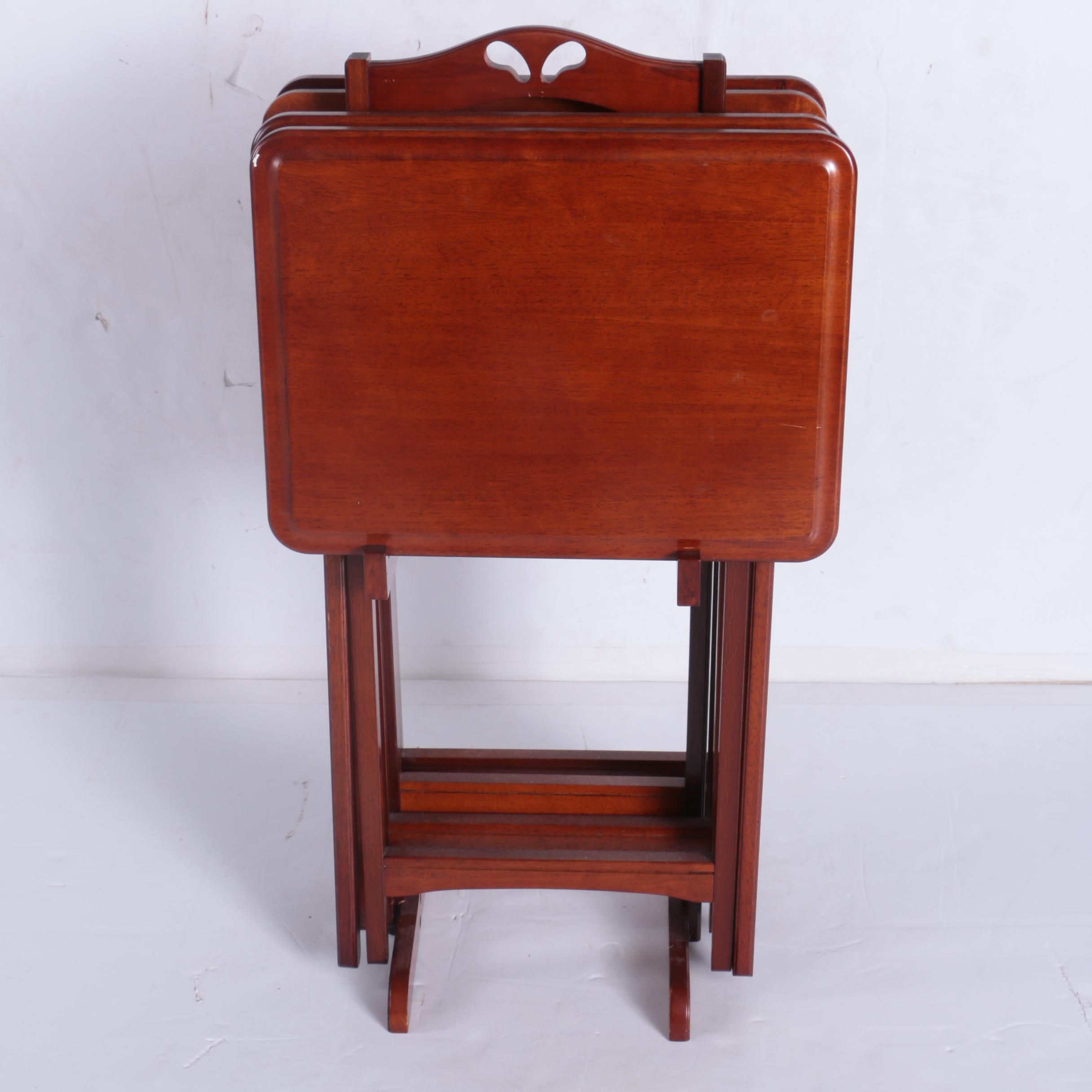 Mahogany-Stained TV Trays with Rack