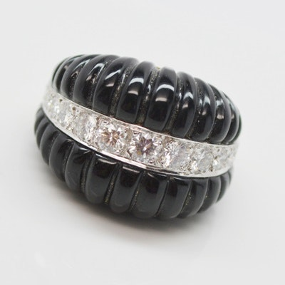 18K White and Yellow Gold Black Onyx and 1.95 CTW Diamond Ring