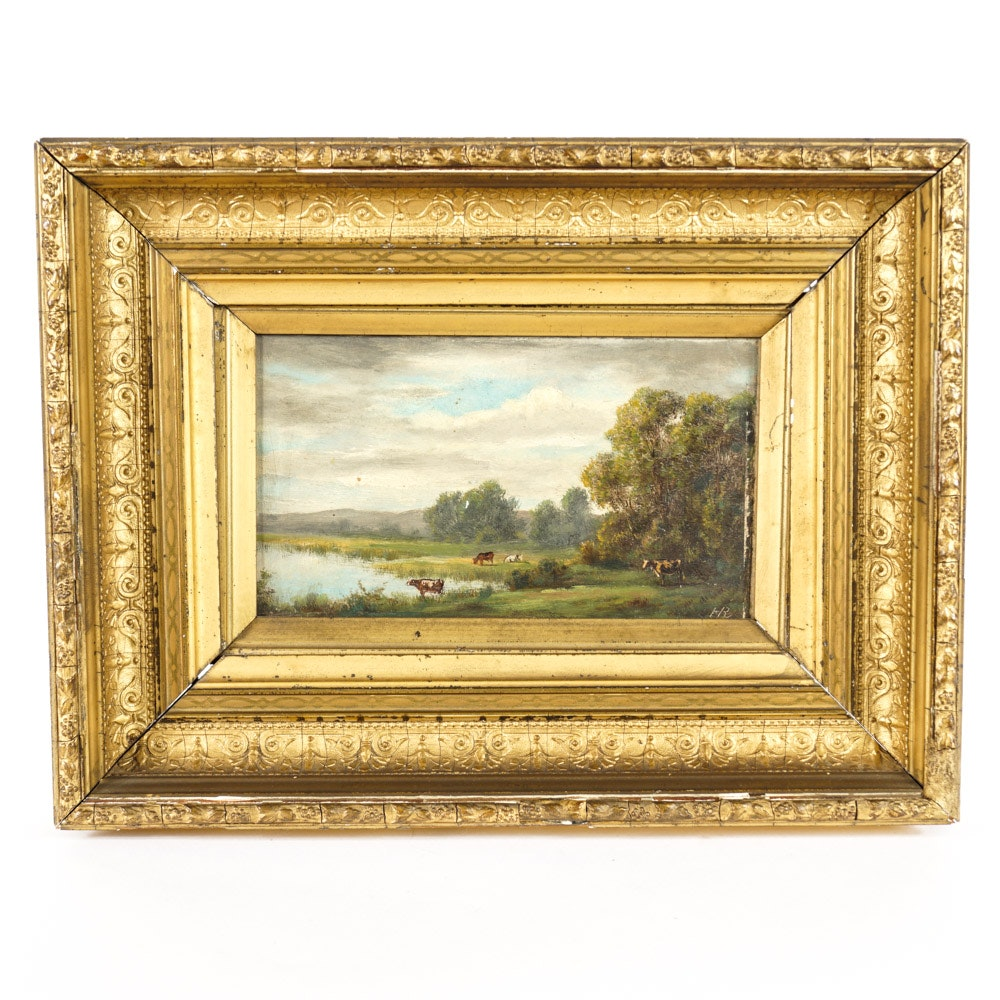 HR Signed Original Landscape Painting with Cows