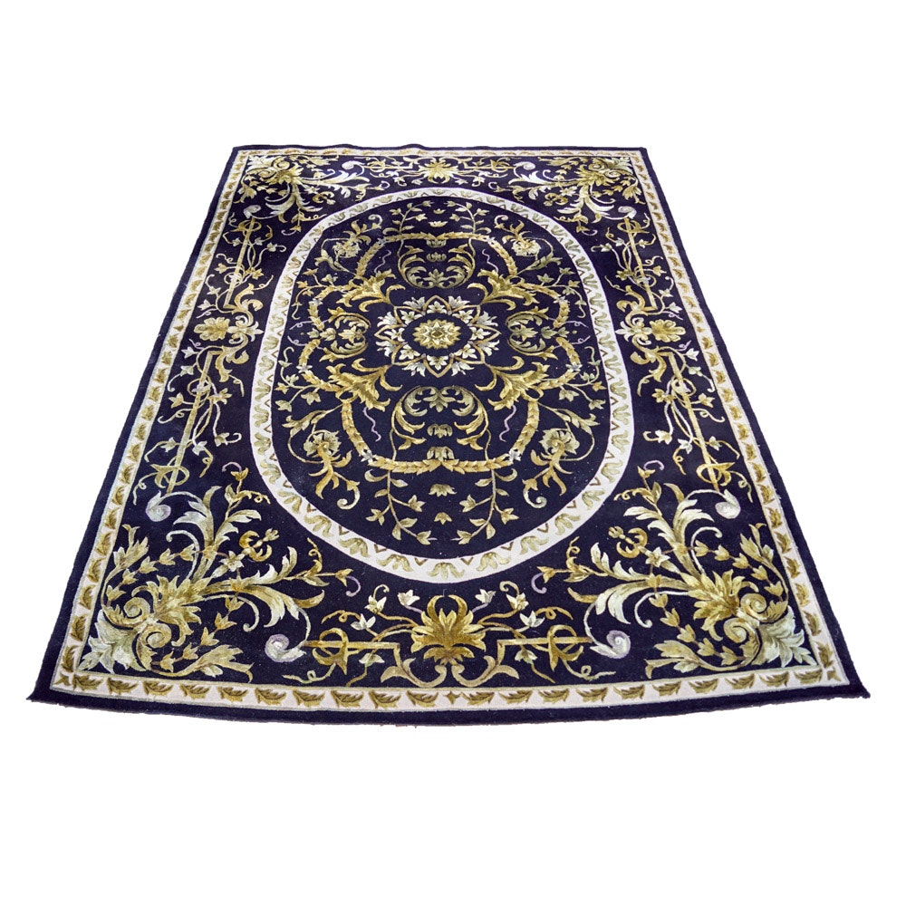 French-Style Beauvais Green Wool Area Rug