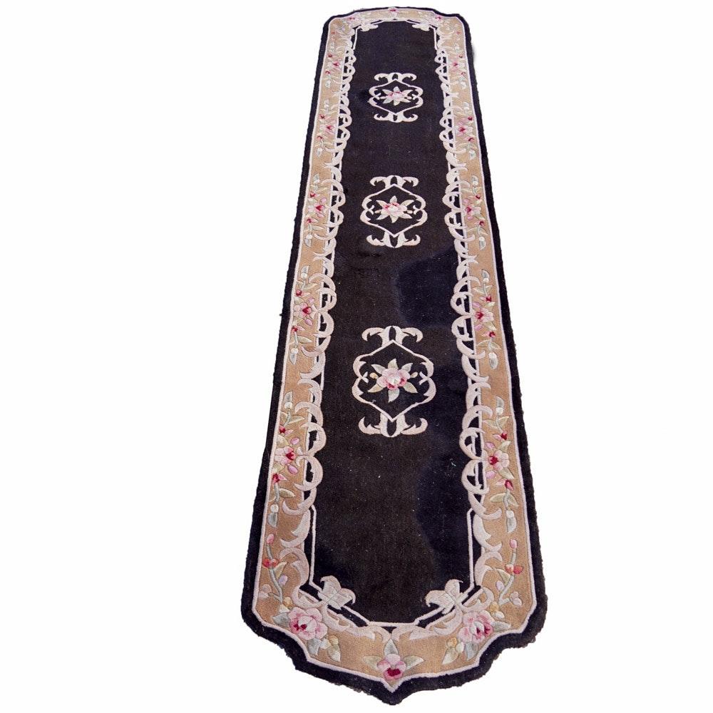 Black Floral Runner Rug