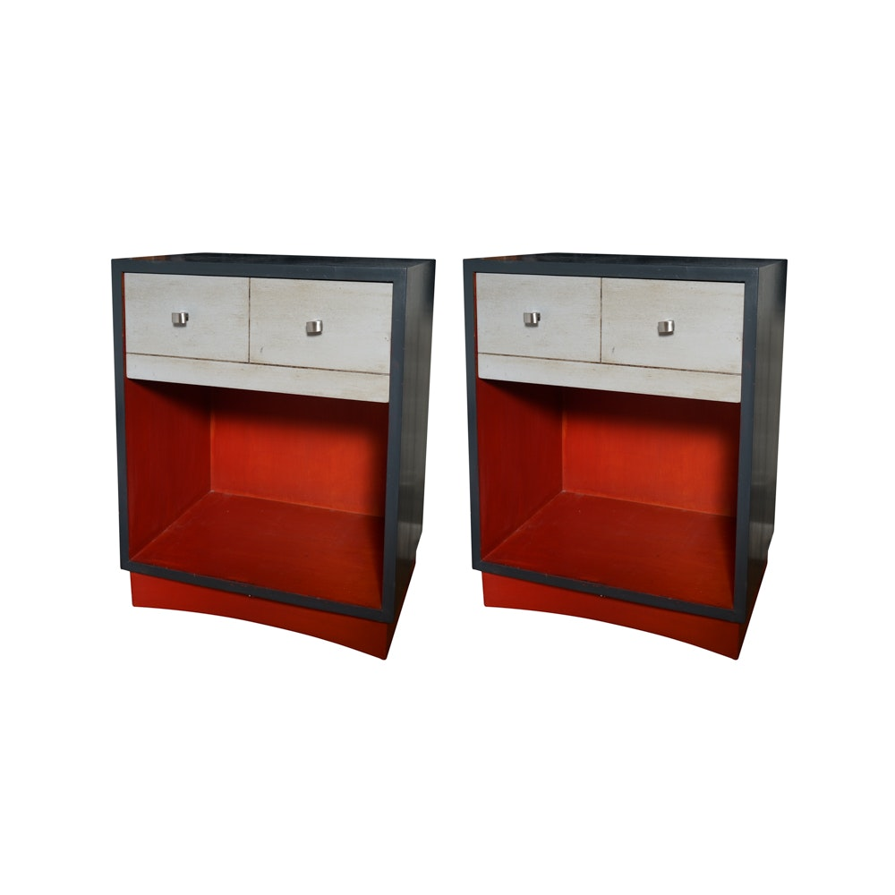 Pair of Black Painted Nightstands with Grey Washed Drawers