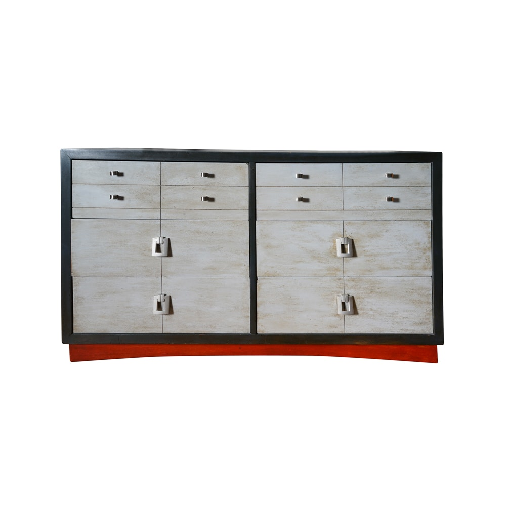 Black Painted Wooden Low Chest of Drawers with Grey Washed Drawers