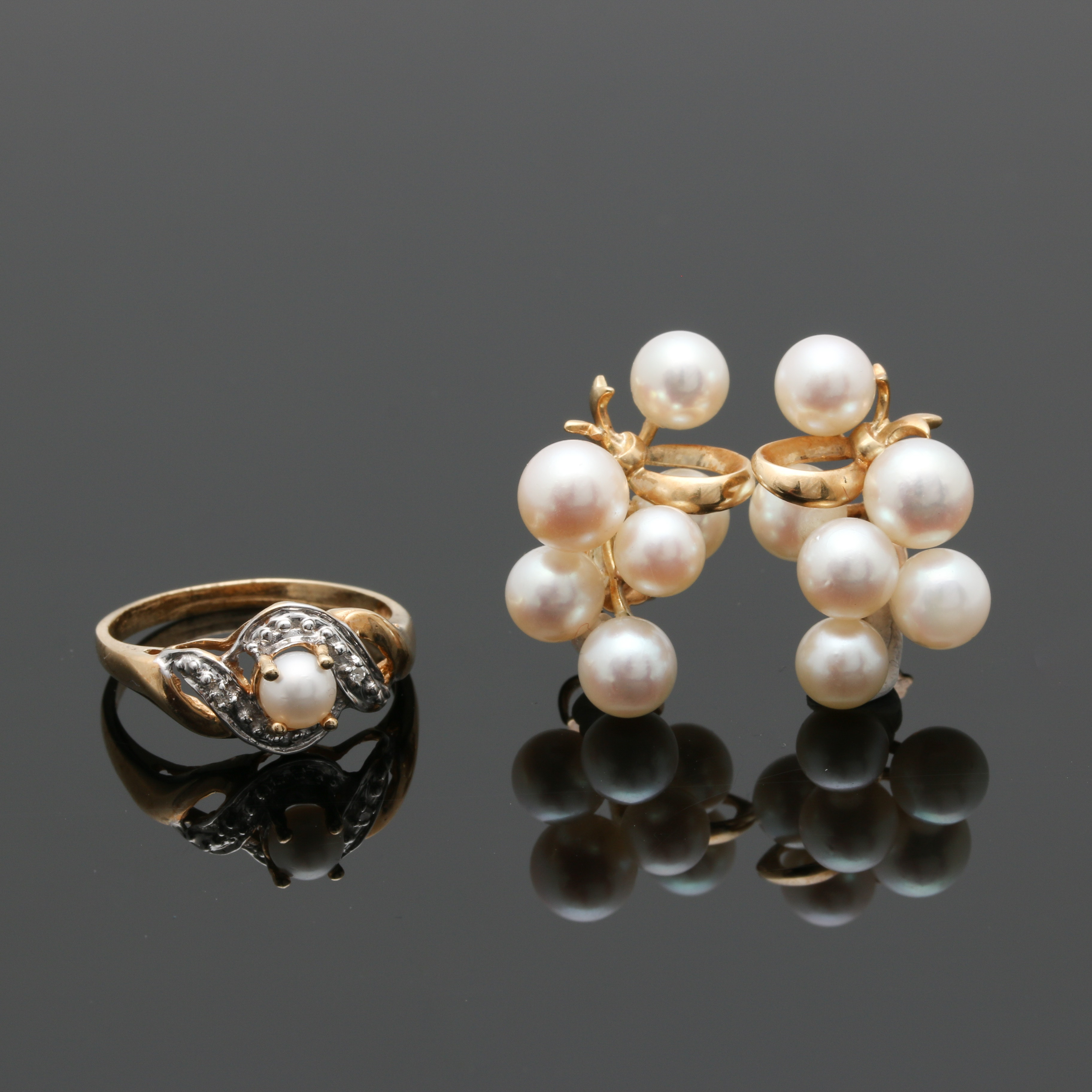 14K Yellow Gold Pearl and Diamond Ring and Earrings