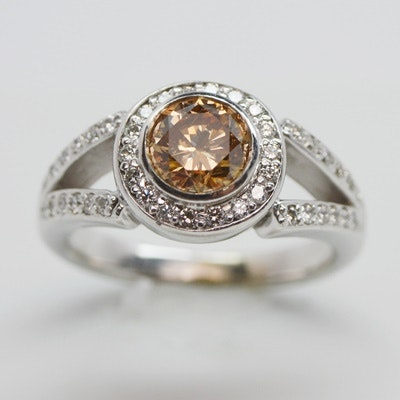 14K White Gold 1.73 CTW Diamond Halo Ring