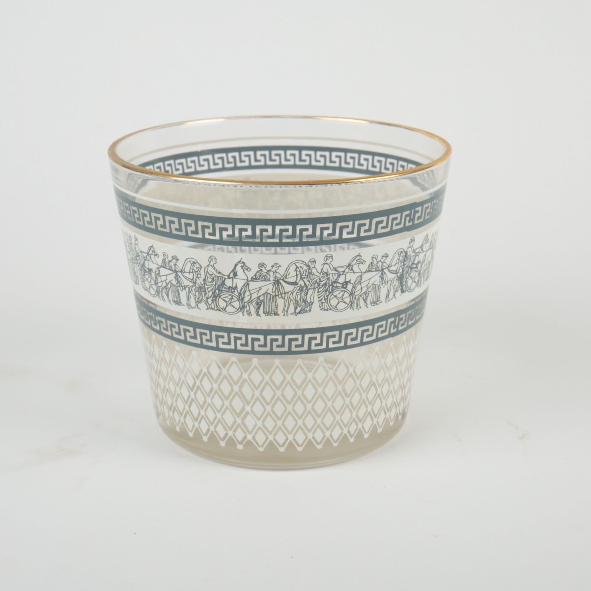 """Mid-Century Jeannette Glass """"Patrician"""" Ice Bucket with Grecian Motif"""