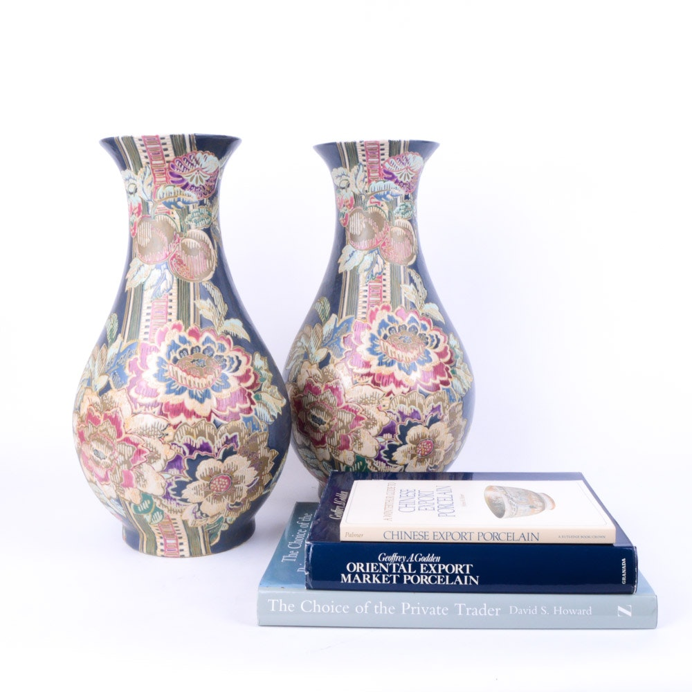 Pair of Chinese Vases with Export Porcelain Books