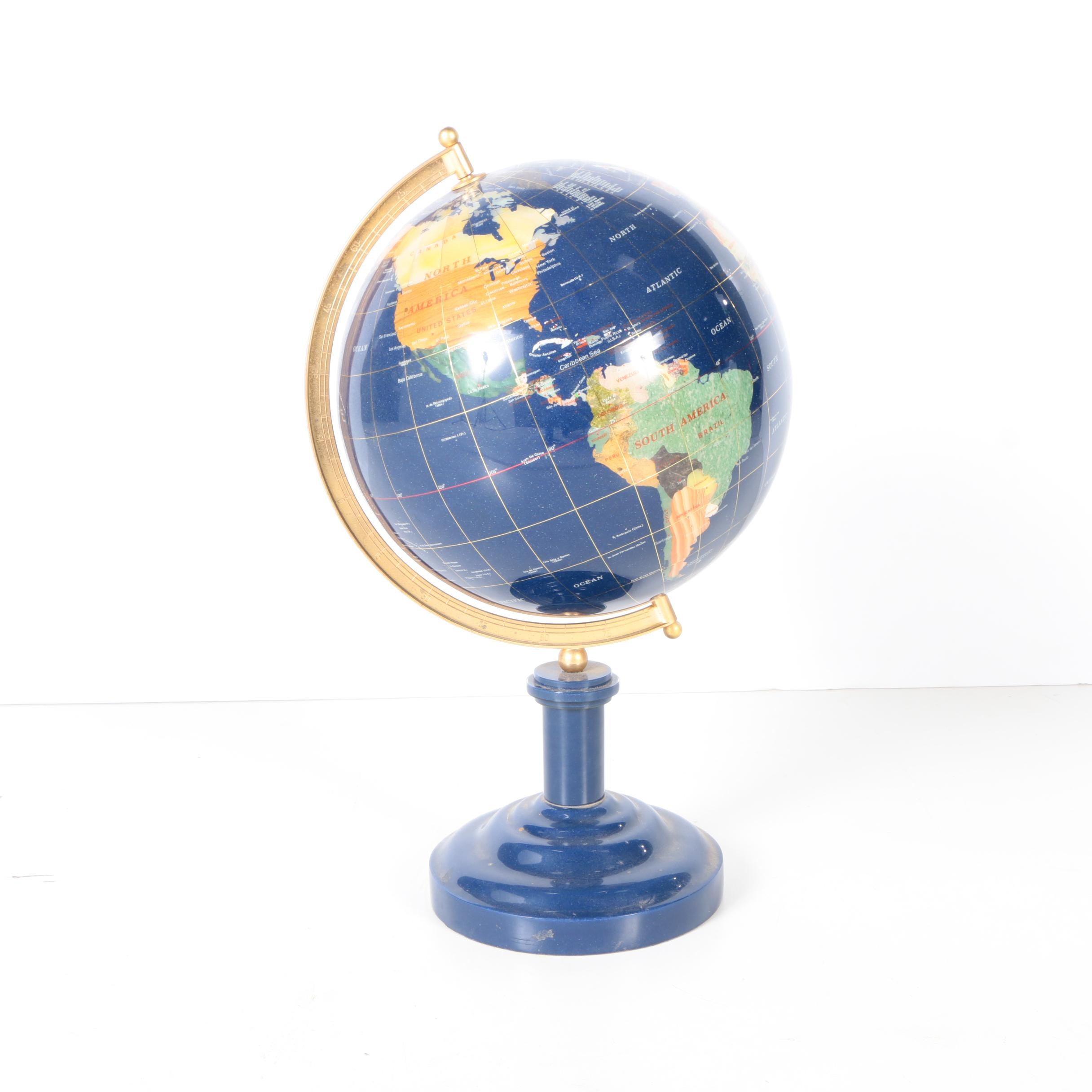 Gemstone Inlaid Globe