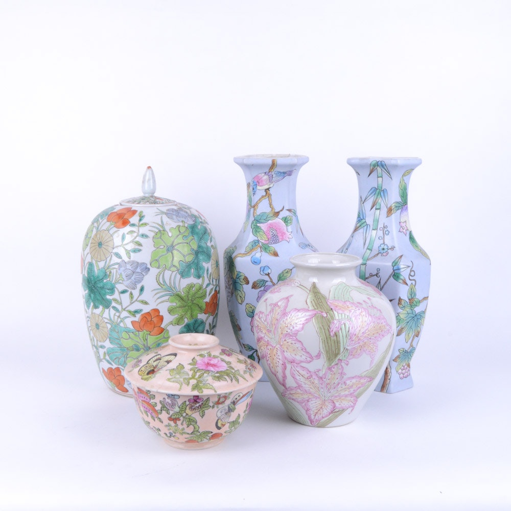 Assortment of Chinese Floral Vases and Jars